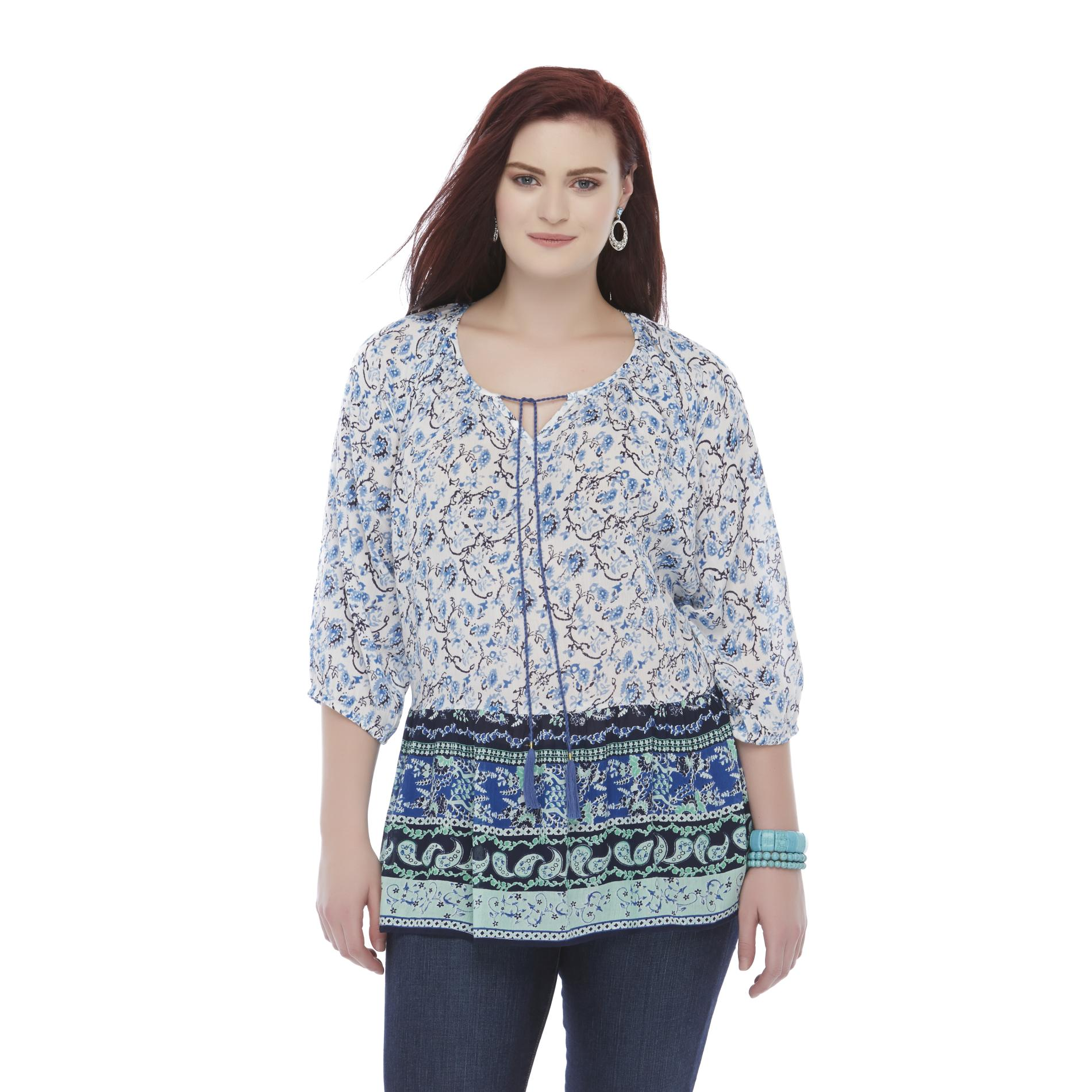 Bongo Junior's Plus Woven Tunic Top - Abstract Floral