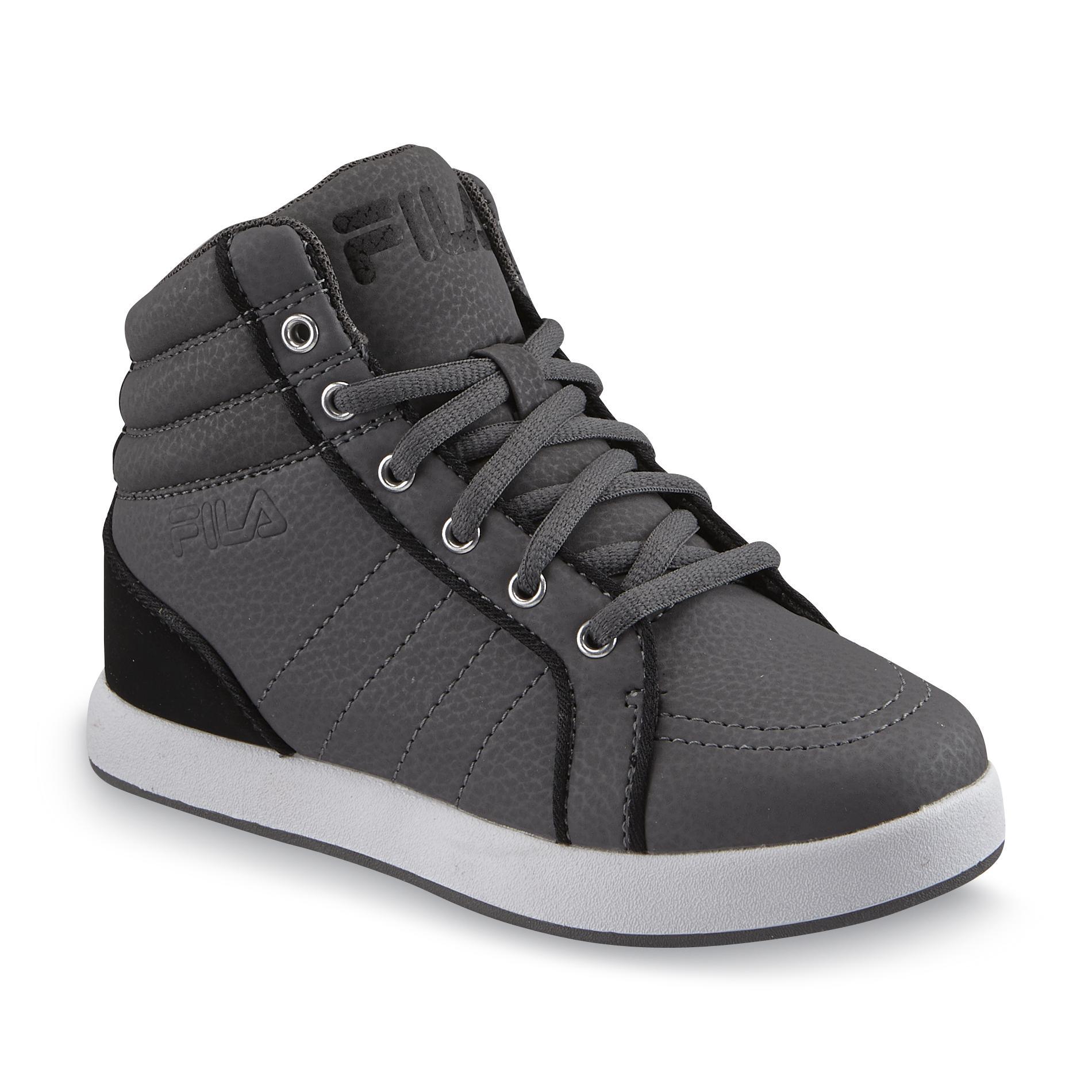 Fila Boy's Calitac Gray/Black High-Top Basketball Shoe