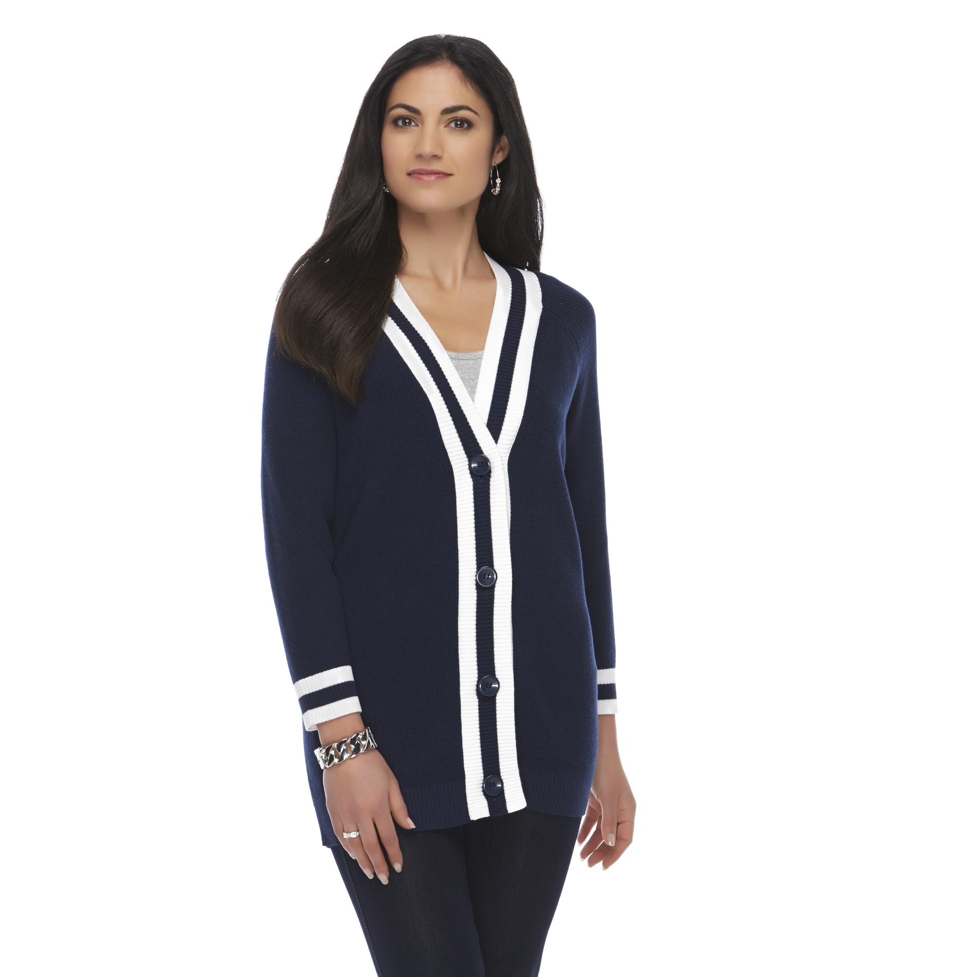 Laura Scott Petite's Y-Neck Cardigan - Striped