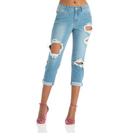 Nicki Minaj Women's Mid Rise Destructed Capri at Kmart.com