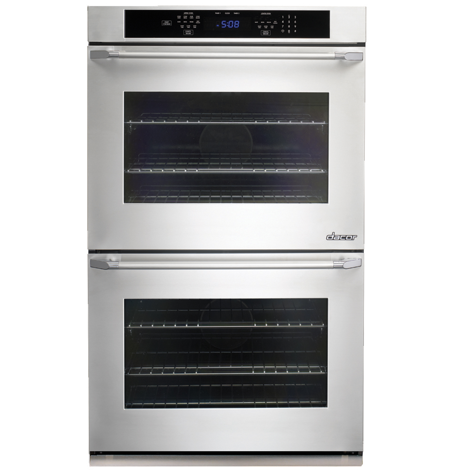 "Dacor Distinctive® 30"" Double Wall Oven - Stainless Steel w/ Epicure Styles SS handle w/ Chrome End Caps PartNumber: 02251103000P KsnValue: 02251103000 MfgPartNumber: DTO230S"
