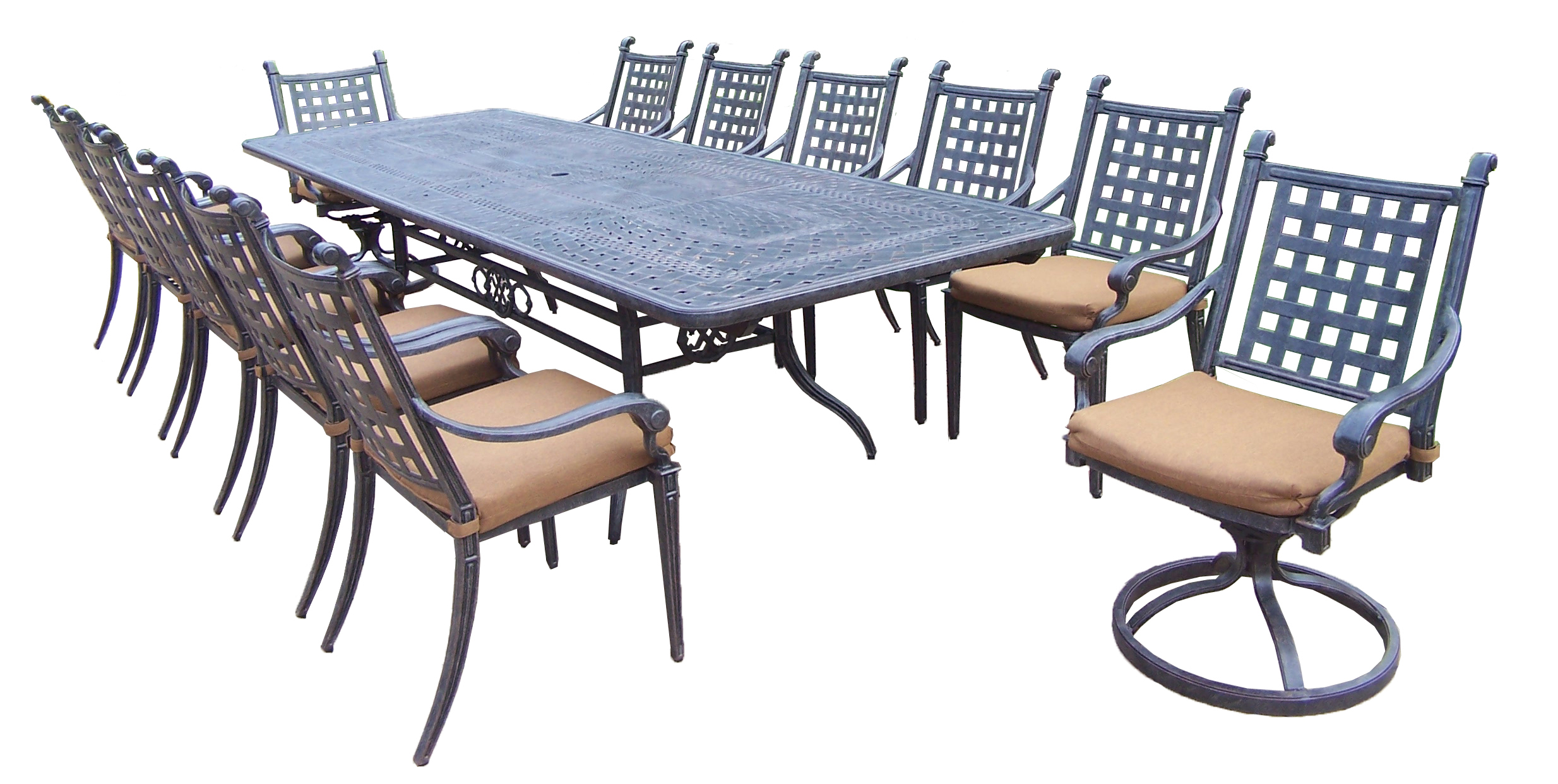 Oakland Living 13 Pc Aluminum Modern Outdoor Dining Set