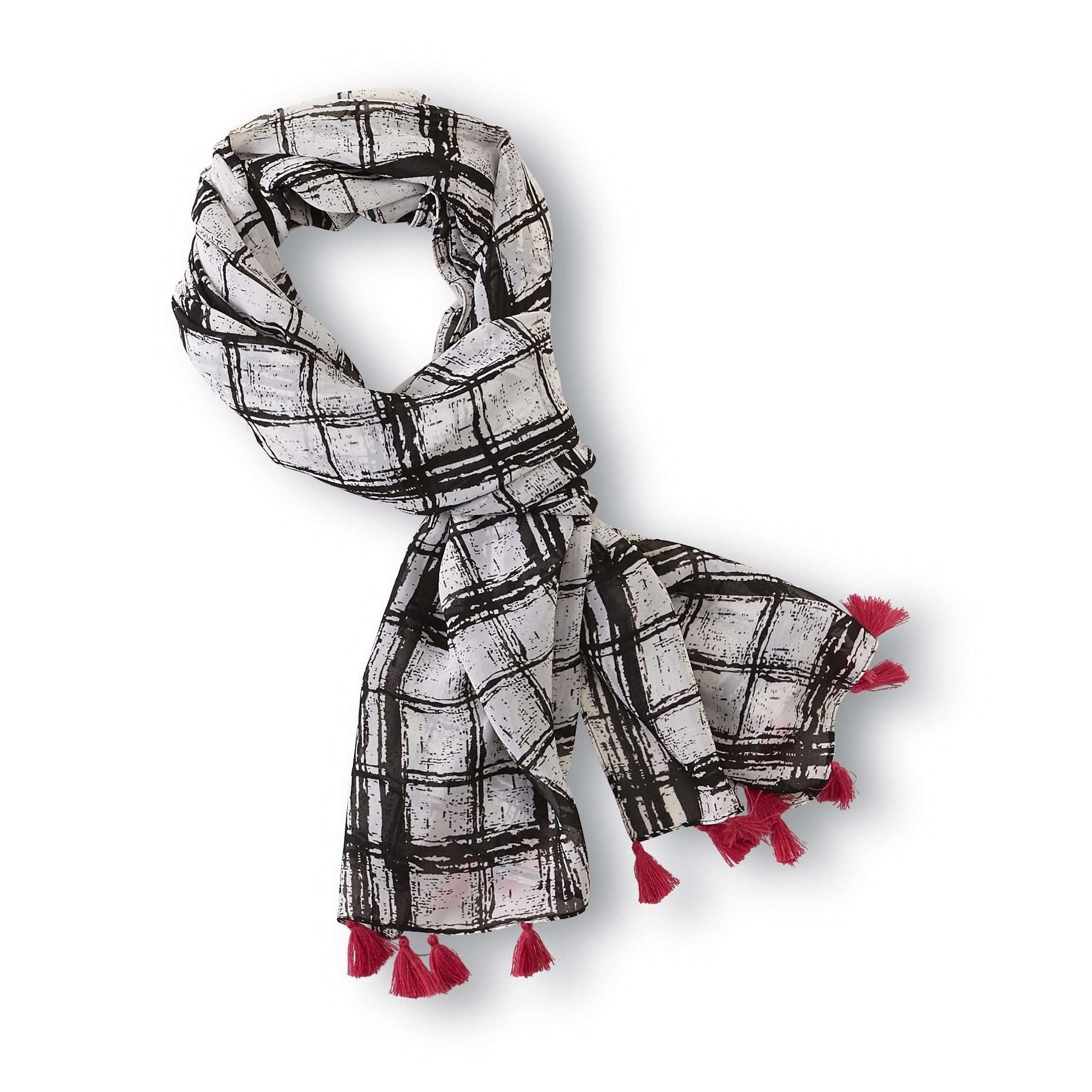 Attention Women's Fringed Fashion Scarf - Abstract Plaid