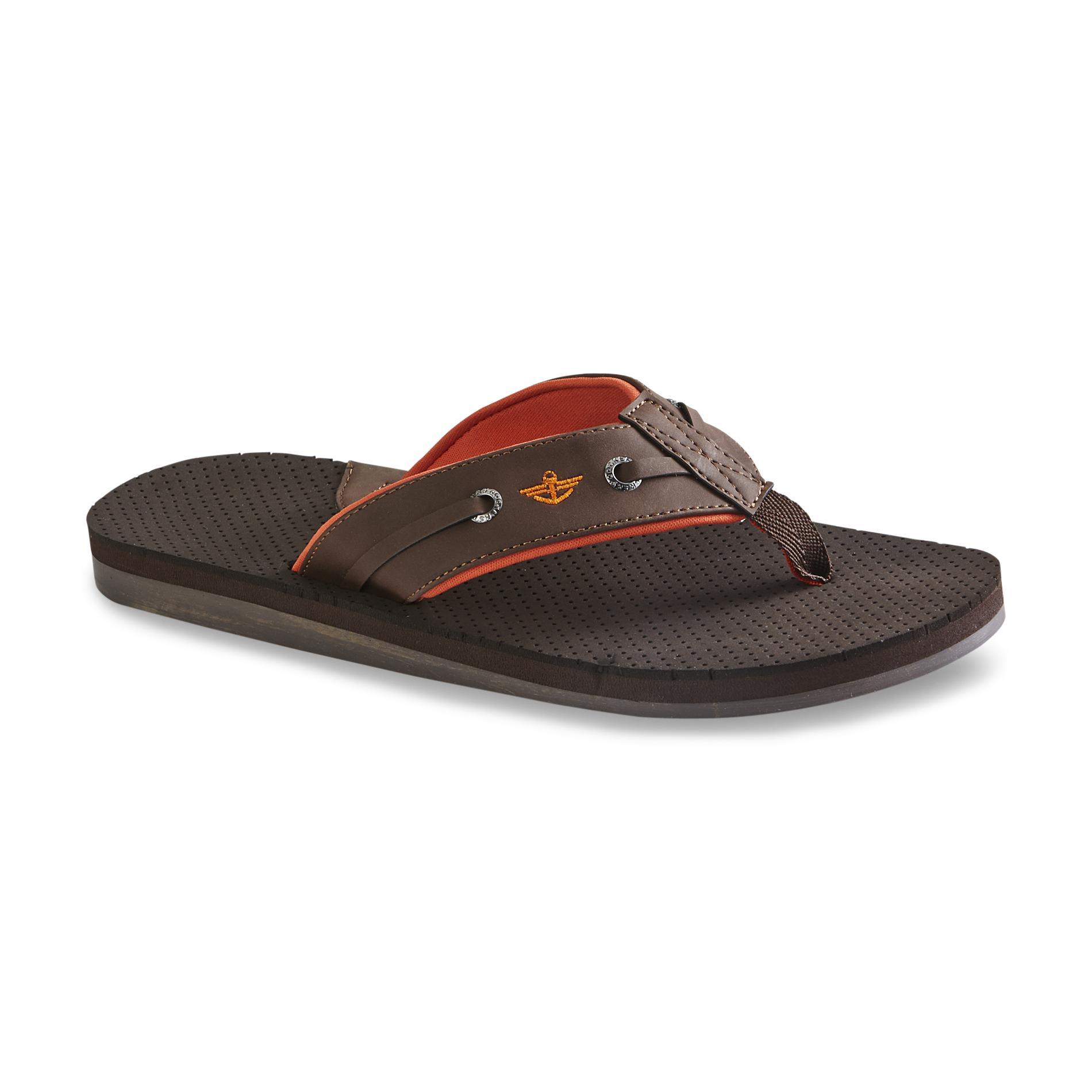 Dockers Men's Brown/Orange Flip-Flop