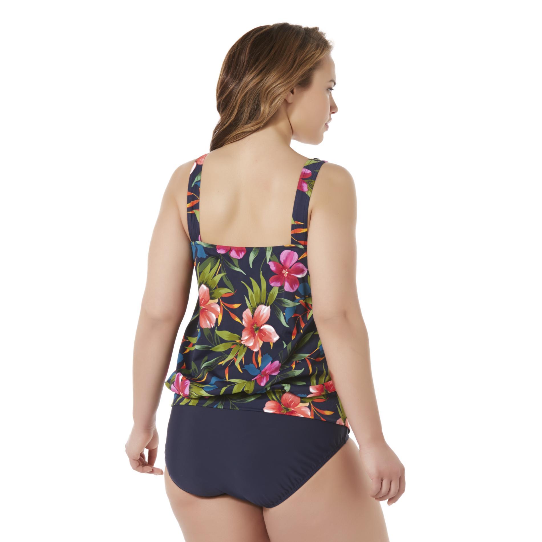 e217357327 Tropical Escape Women s Plus Blouson Tankini Swimsuit - Tropical Floral