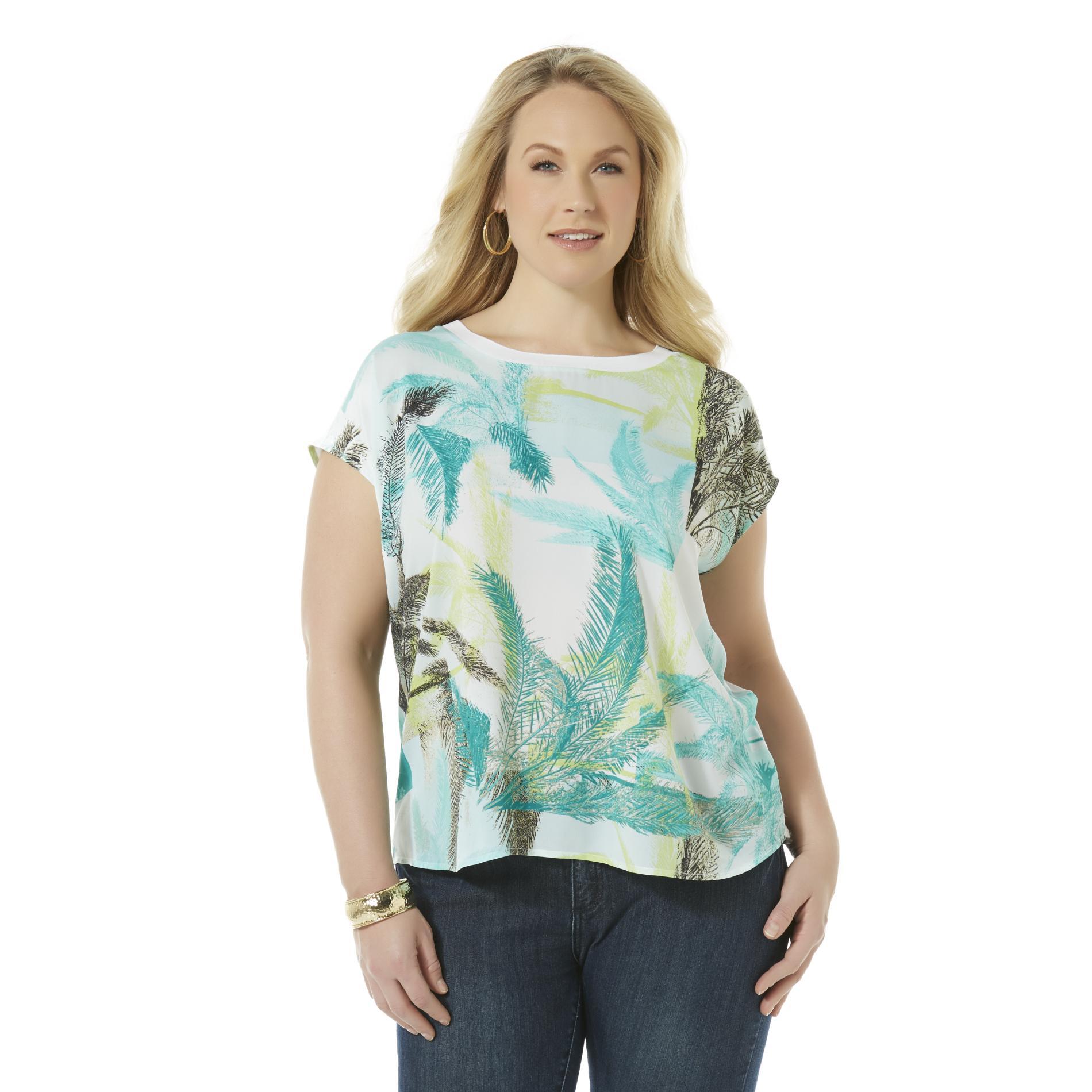 Women's Plus Graphic T-Shirt - Tropical