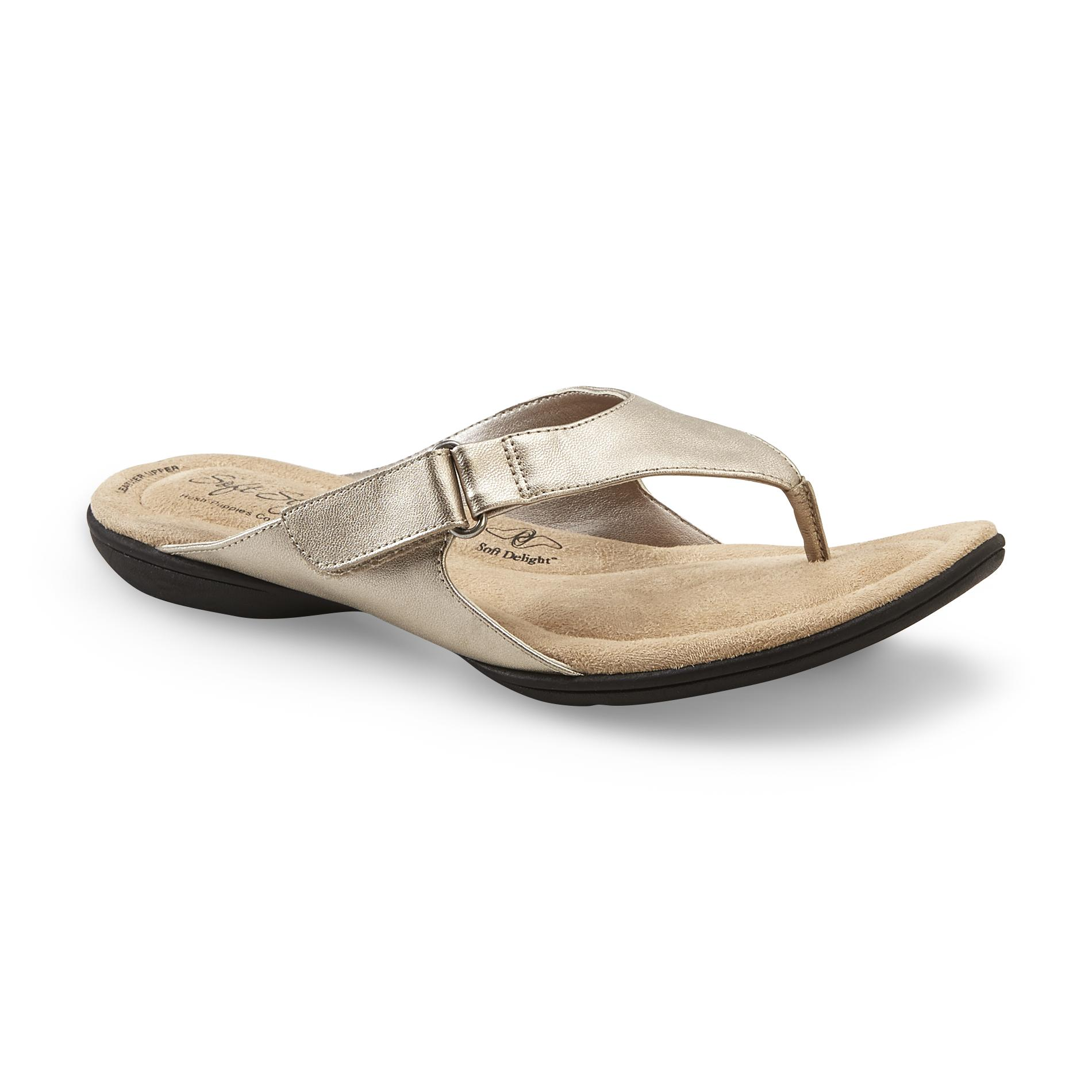 Soft Style by Hush Puppies Women's Ezzo Pewter Flip-Flop - Wide Width Available
