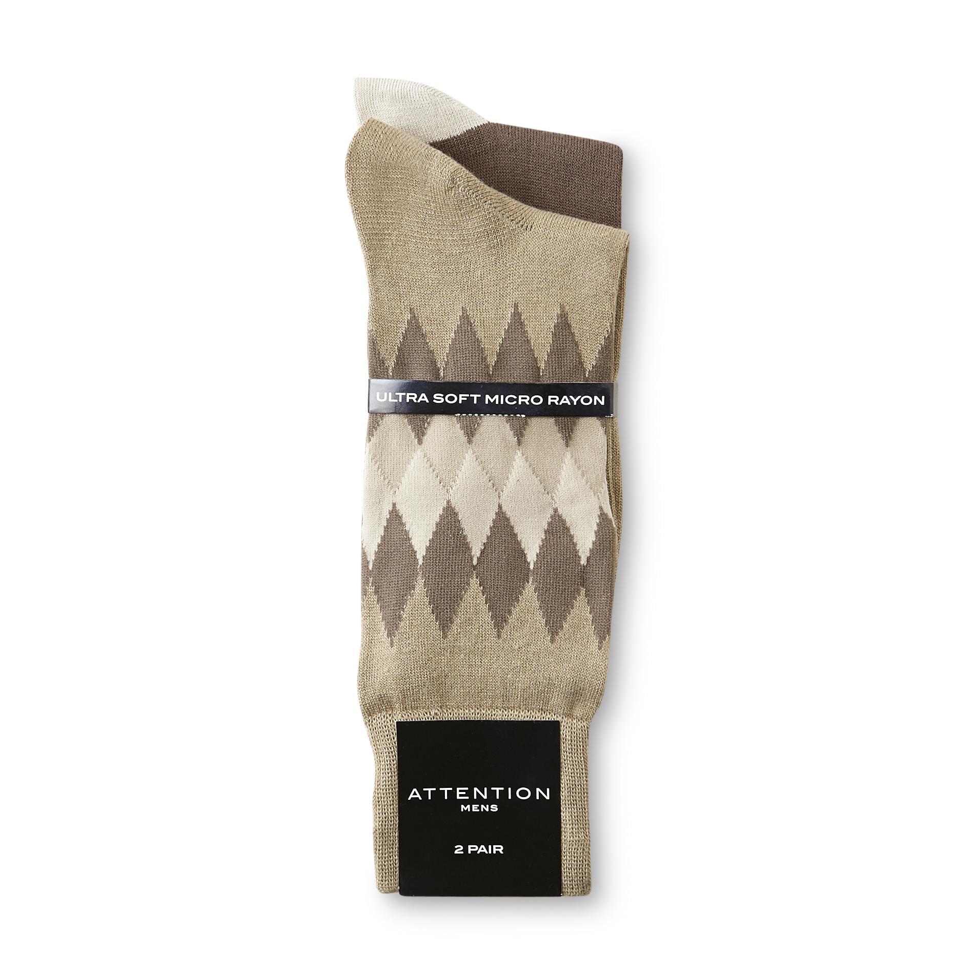 Men's 2-Pairs Dress Socks - Diamond & Colorblock