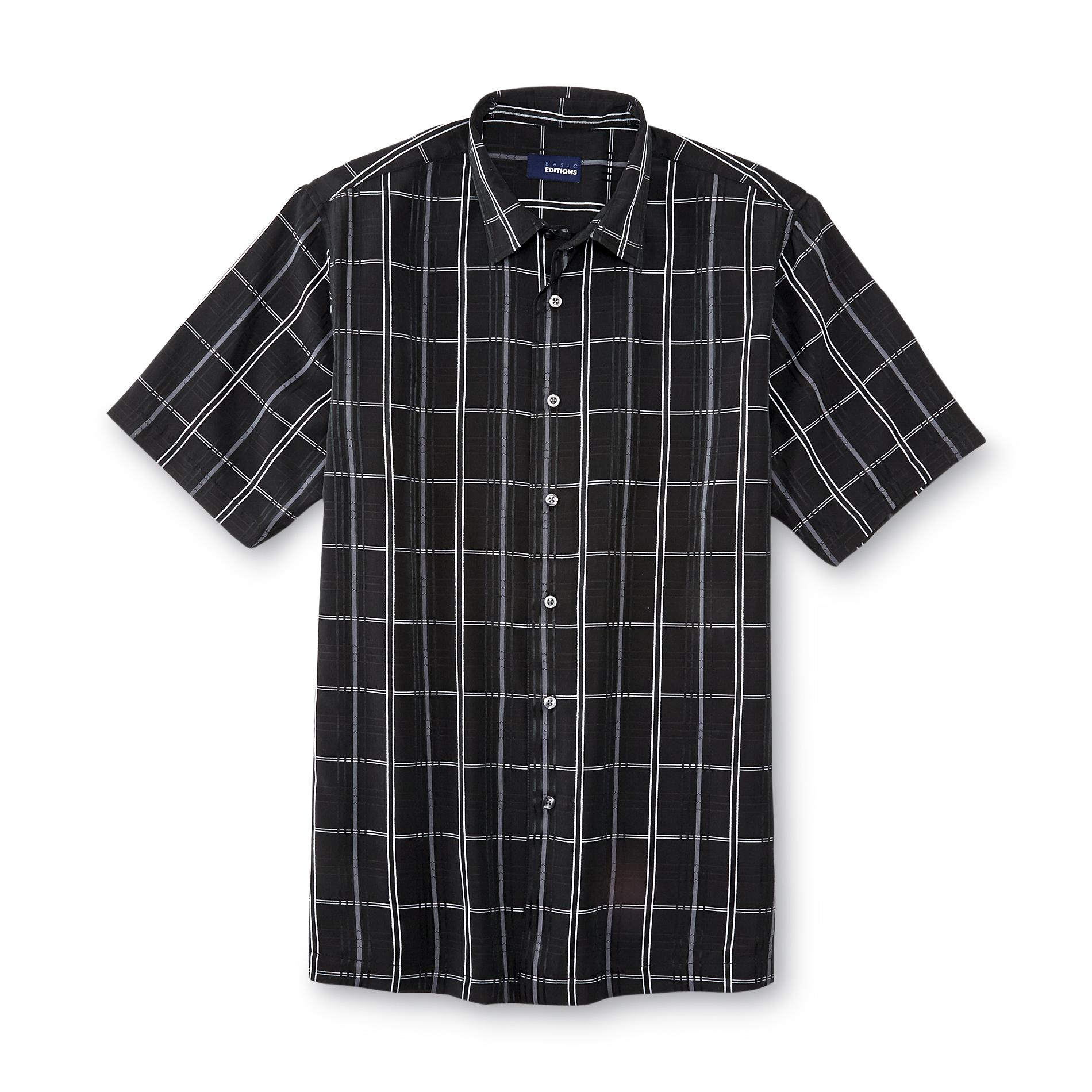 Basic Editions  Men's Button-Front Dress Shirt - Grid