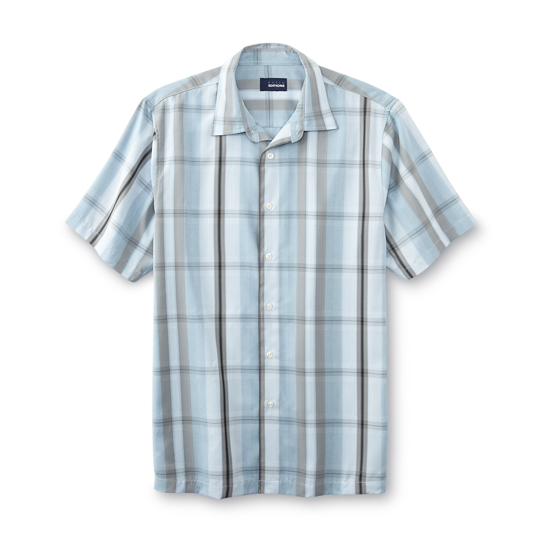 Basic Editions Men's BIg & Tall Button-Front Dress Shirt - Grid