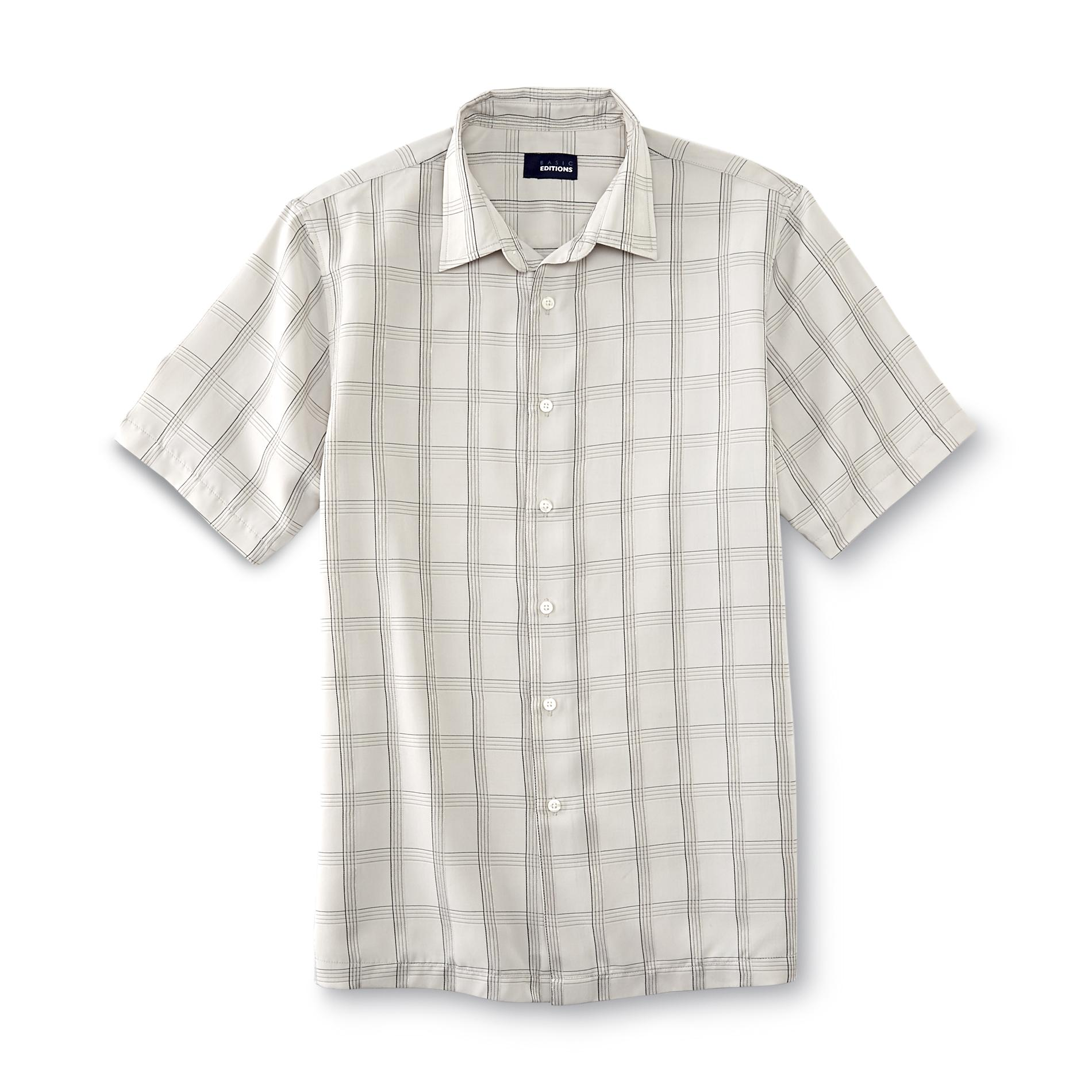 Basic Editions Men's Button-Front Dress Shirt - Windowpane