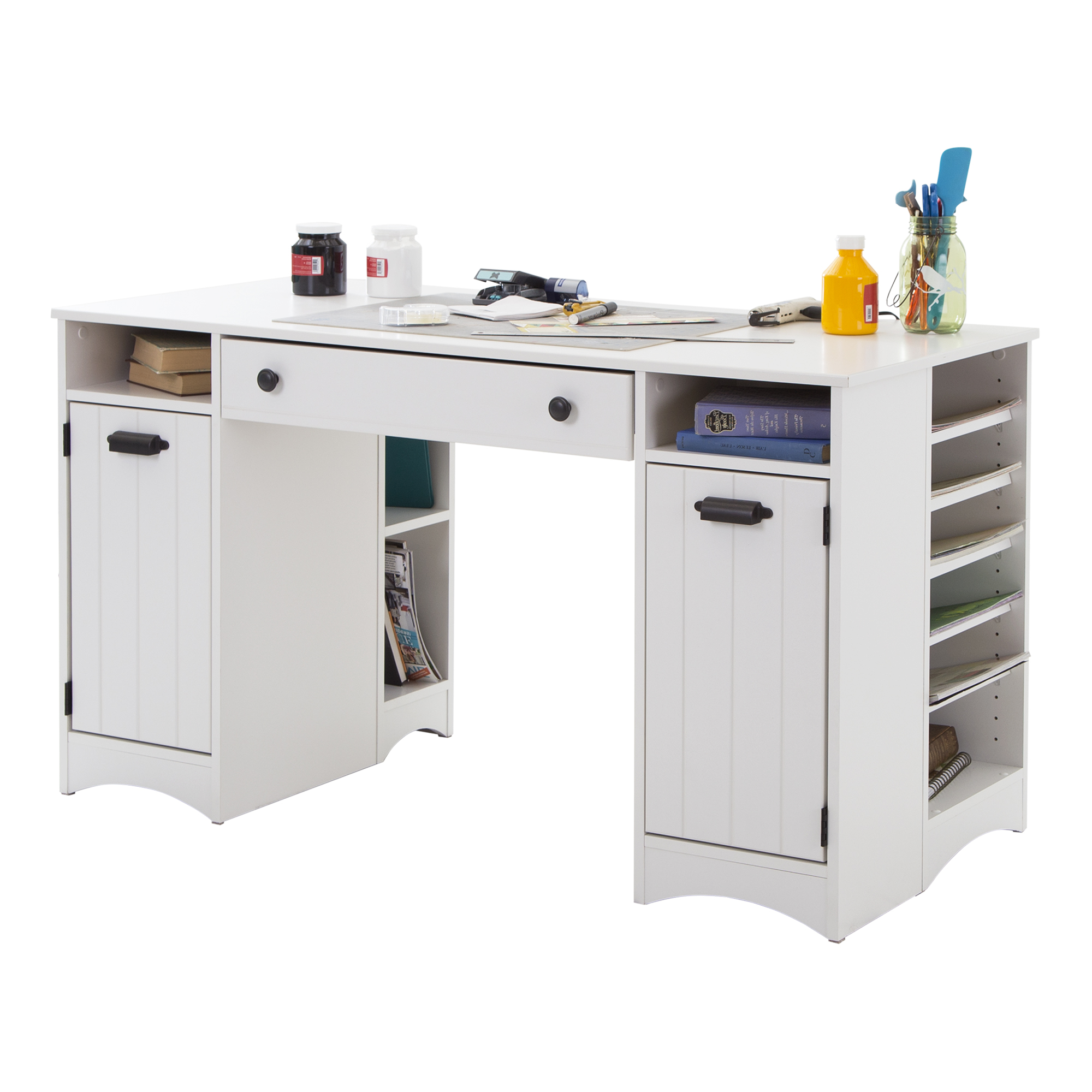 South Shore Artwork Craft Table with Storage, Pure White