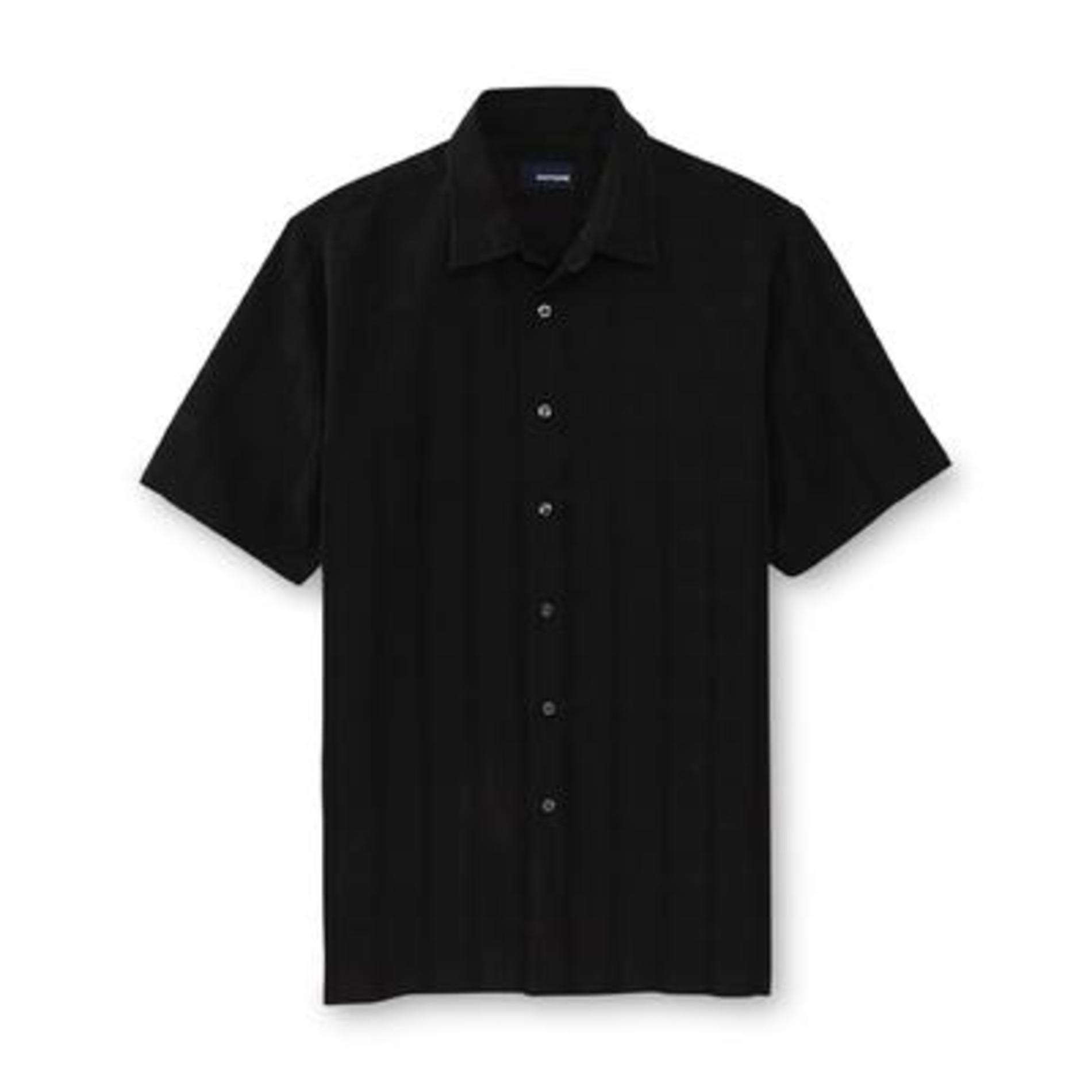 Basic Editions Men's Big & Tall Woven Button-Front Shirt - Grid