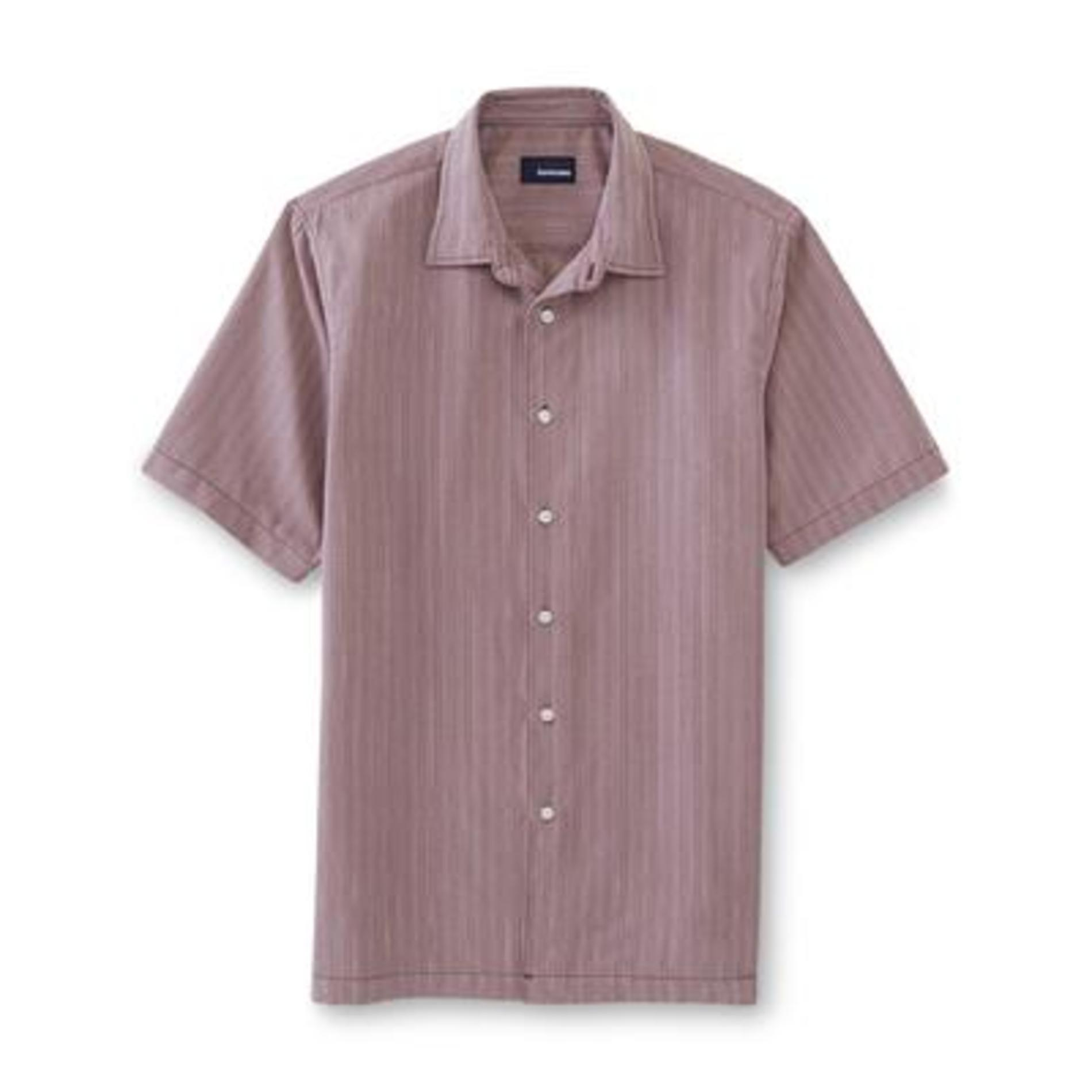 Basic Editions  Men's Big & Tall Woven Button-Front Shirt - Striped