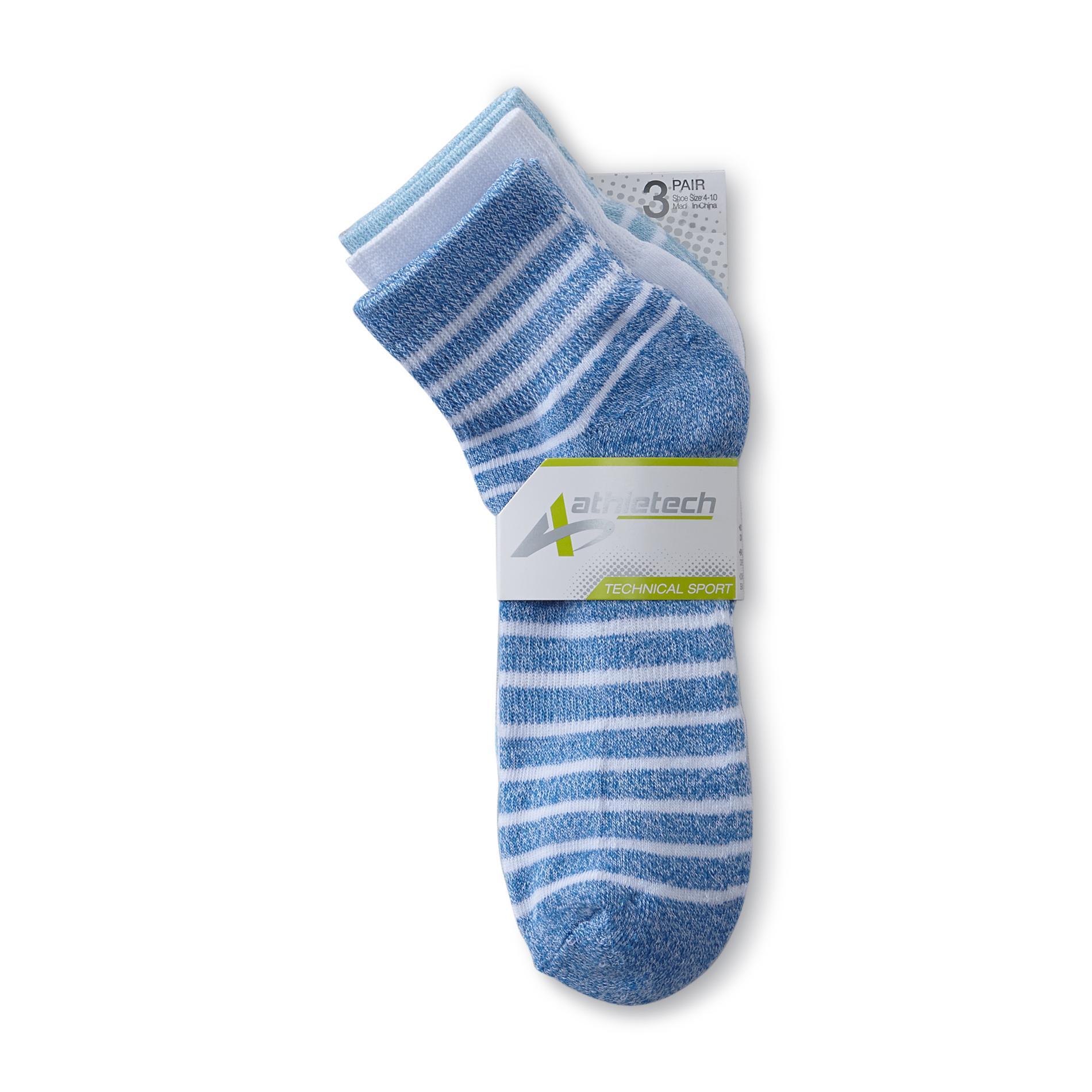 Athletech Women's 3-Pairs Technical Sport Quarter Socks - Solid & Striped