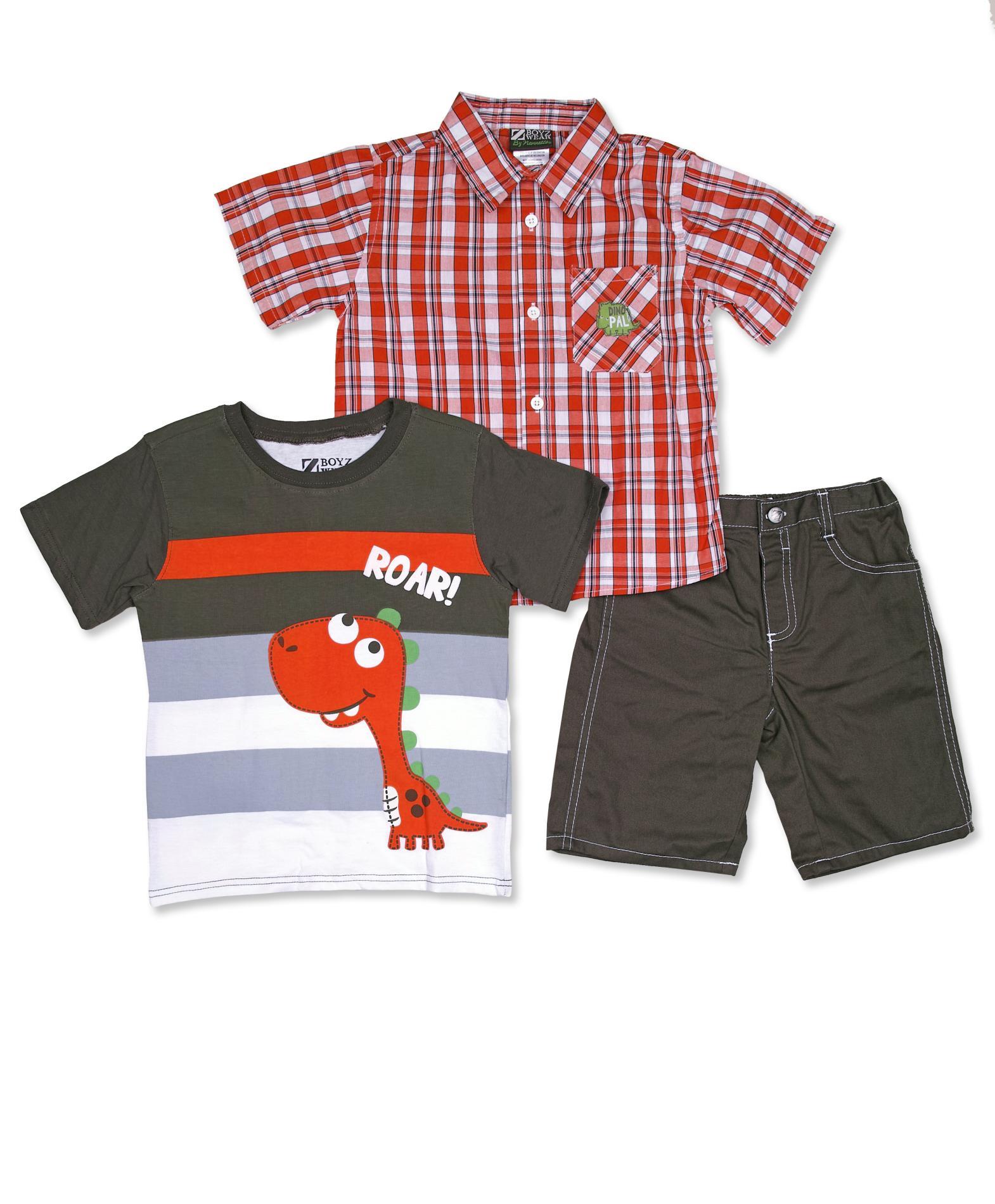 Little Rebels Infant & Toddler Boy's Shirt, T-Shirt & Denim Shorts - Dinosaur Roar