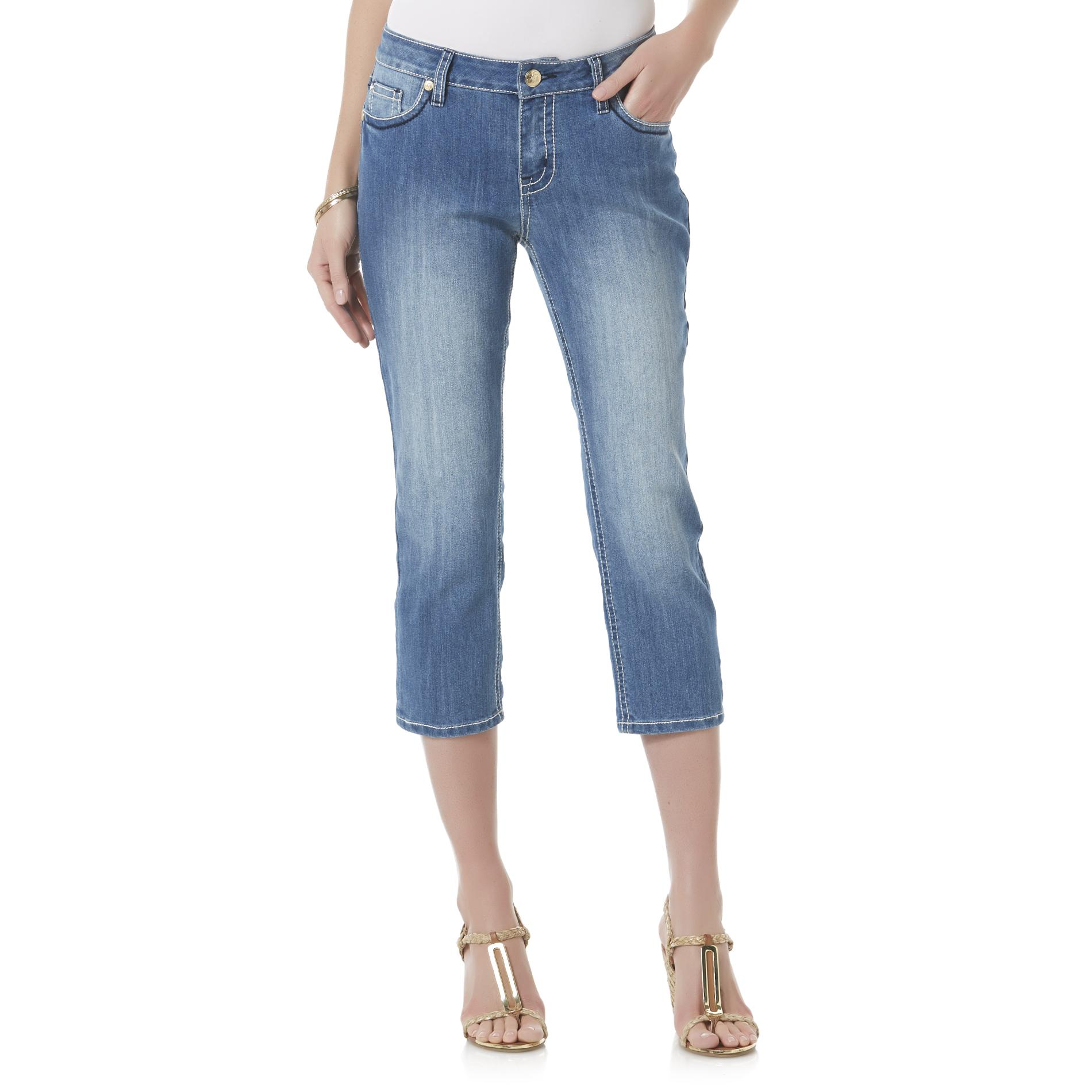 Love Indigo Women's Embellished Capri Jeans - Medium Wash