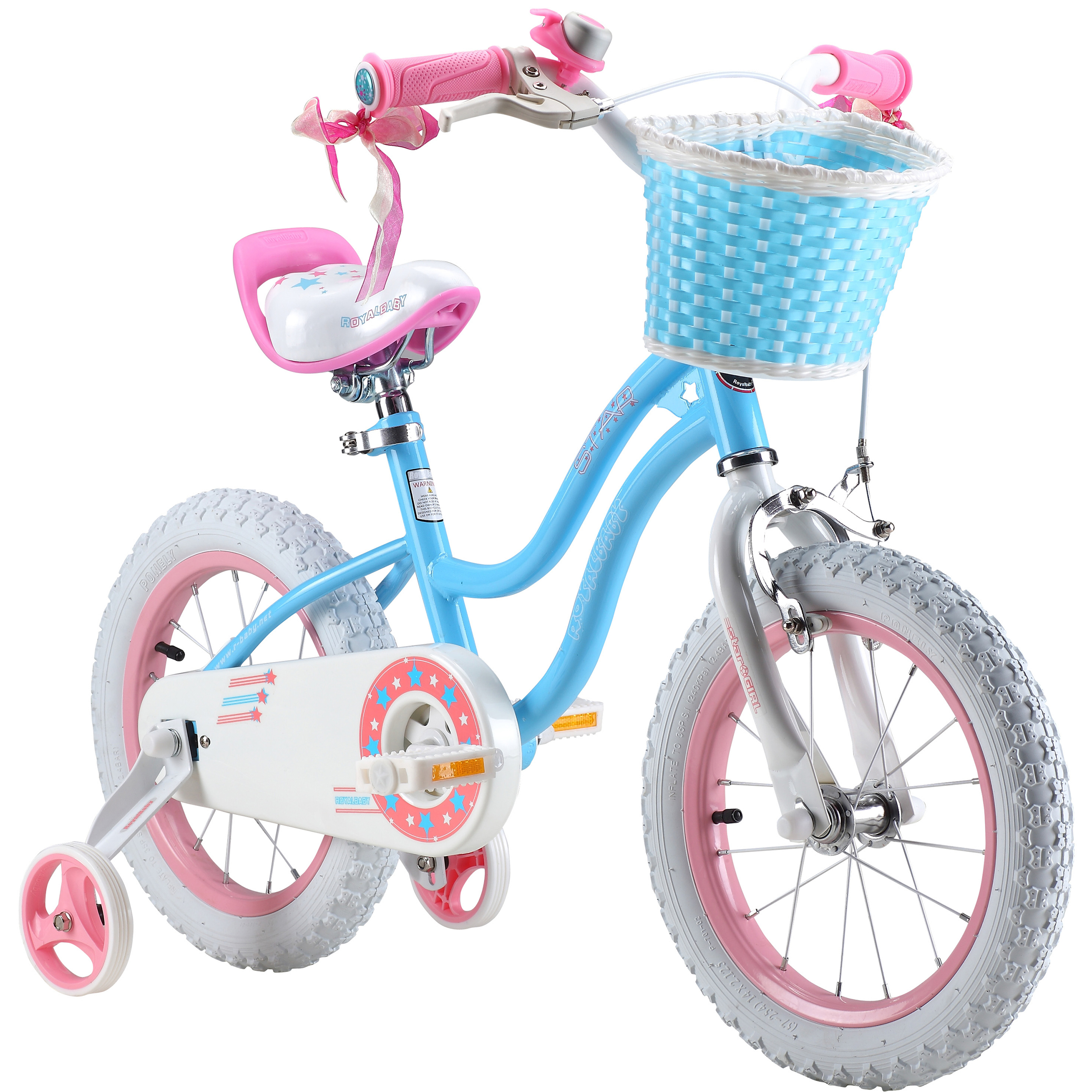 Royalbaby Stargirl Girl's Bike with Training Wheels and Basket, Perfect Gift for Kids. 12 Inch, 14 Inch, 16 Inch, Blue ...