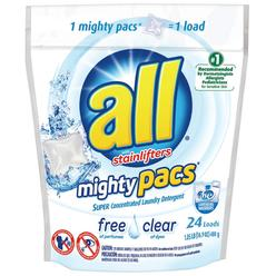 All With Stainlifters Mighty Pacs Super Concentrated Free Clear 24 Loads Laundry Detergent 16.9 OZ STAND UP BAG at Kmart.com