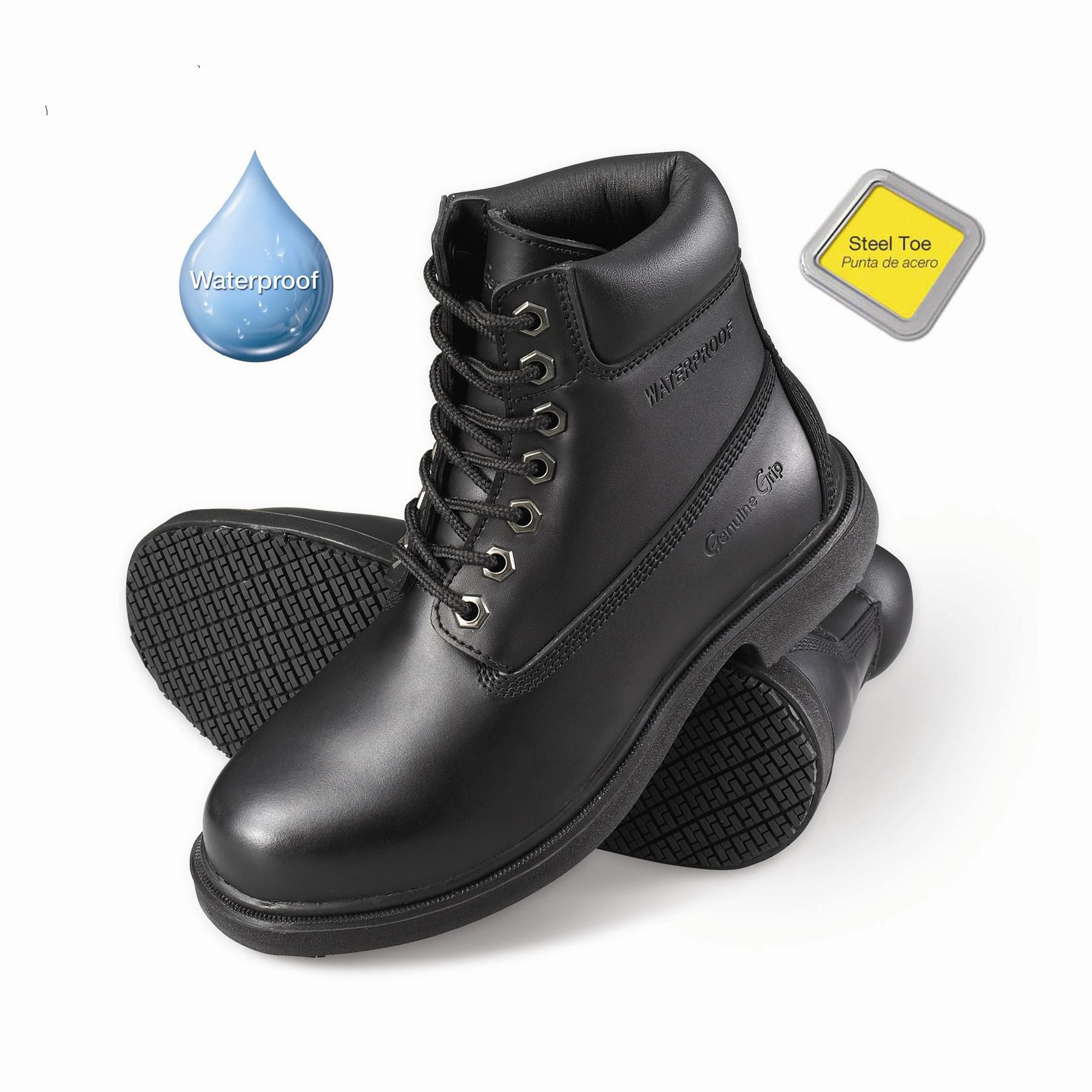 Genuine Grip Men's Slip-Resistant Waterproof Steel Toe Work Boots #7161 Black