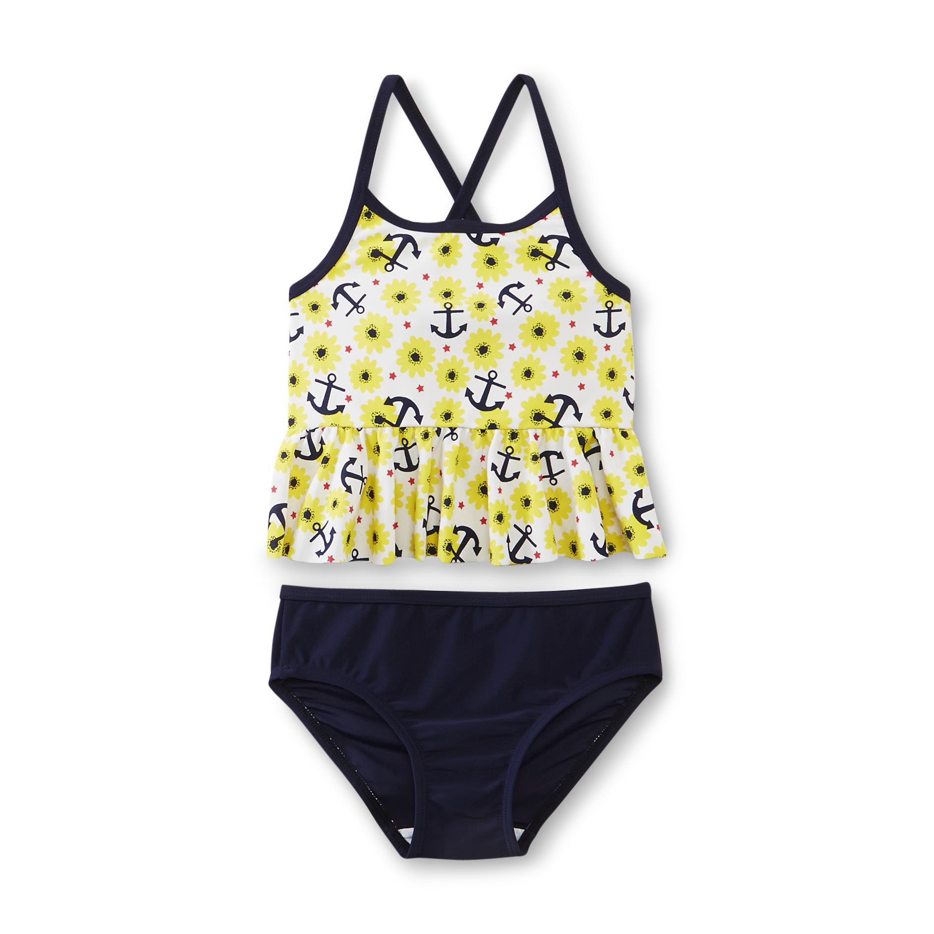 Infant & Toddler Girl's Ruffle Tankini Swimsuit - Anchor & Floral