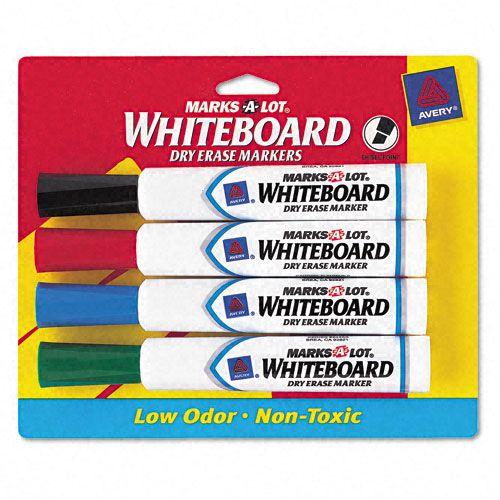 Marks-A-Lot Desk Style Dry Erase Markers  Chisel Tip  Assorted  4/Set PartNumber: 025V044655342000P KsnValue: 025V044655342000 MfgPartNumber: AVE24409