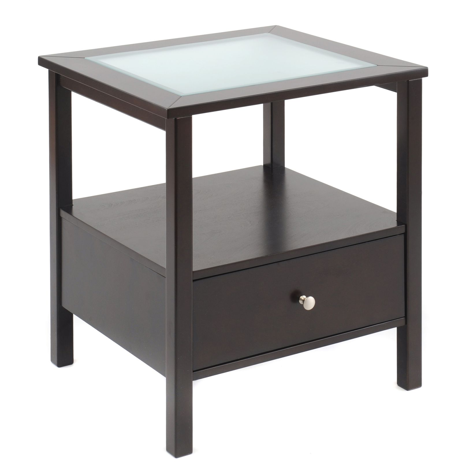 Bay shore collection end table with glass insert top and for Living room end tables with drawers