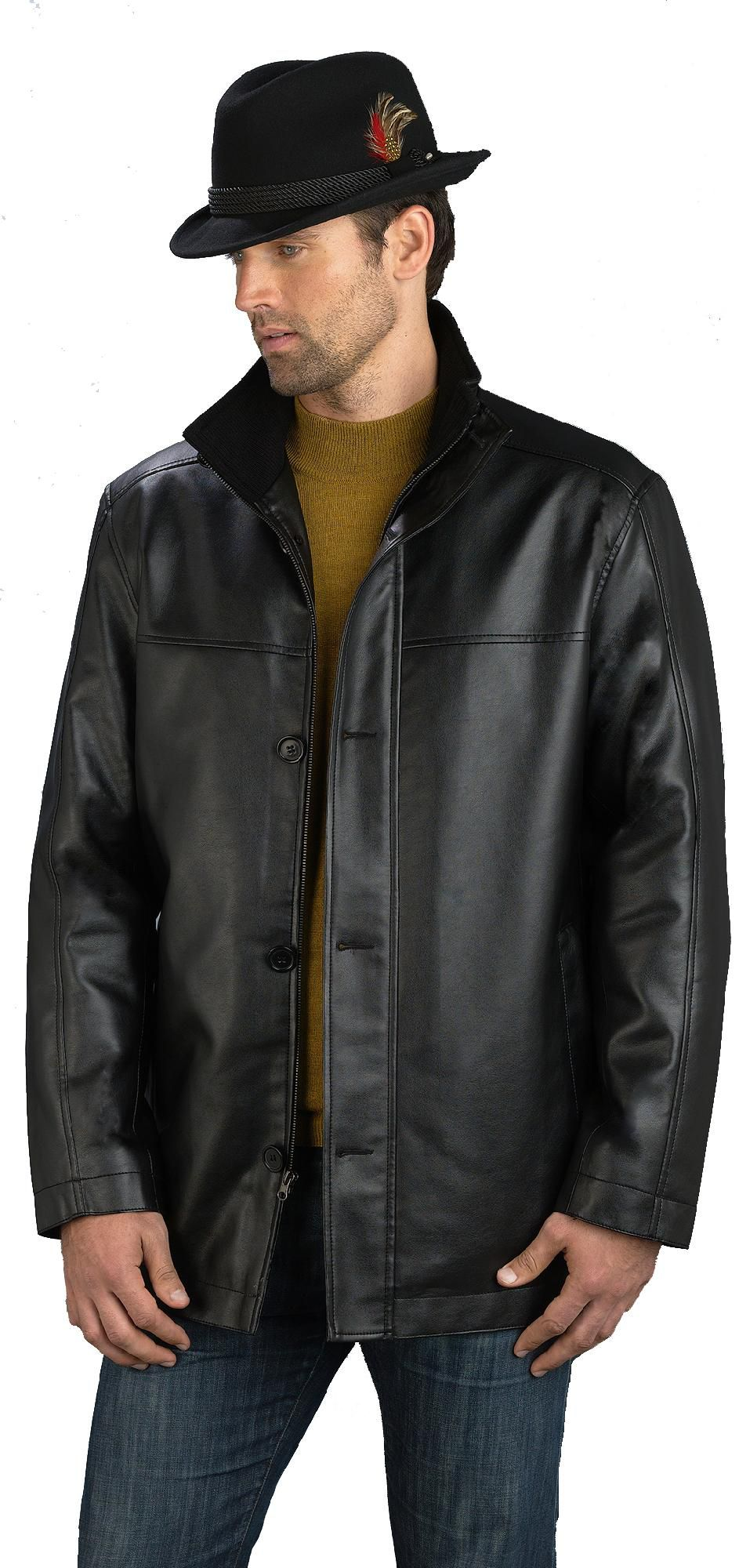 Mens Faux Leather Car Coat