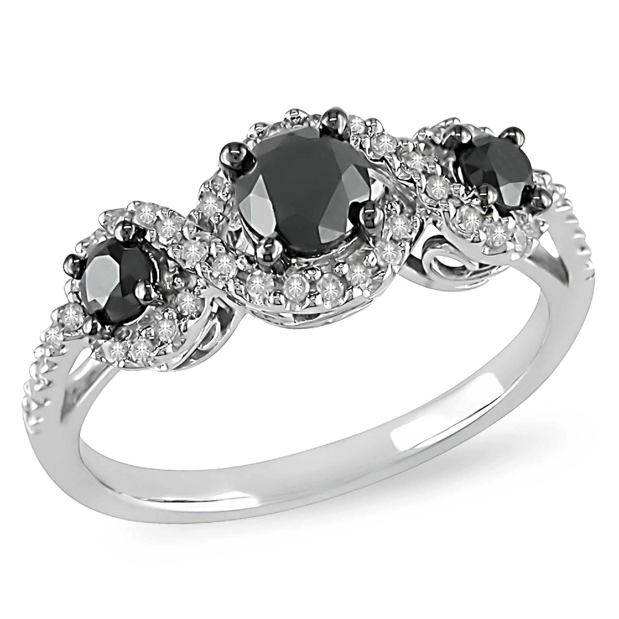 1 CTTW Black and White Diamond Three-Stone