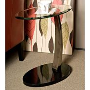 L Powell Brushed Chrome, Black Poly & Glass Oval Chairside Table at Sears.com