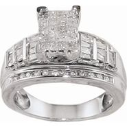 1 cttw Princess, Baguette and Round Diamond Engagement Ring in 14k WG at Sears.com