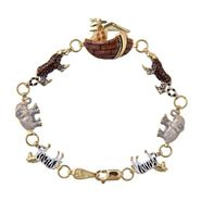 14Kt Yellow Gold & Sterling Silver Bonded Enamel Noah's Ark Bracelet at Sears.com
