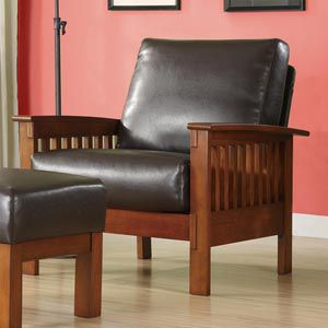 Oxford Creek Marlin Mission-Inspired Arm Chair in Brown Faux Leather