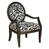 L Powell Zebra Oval Back Accent Chair at mygofer.com