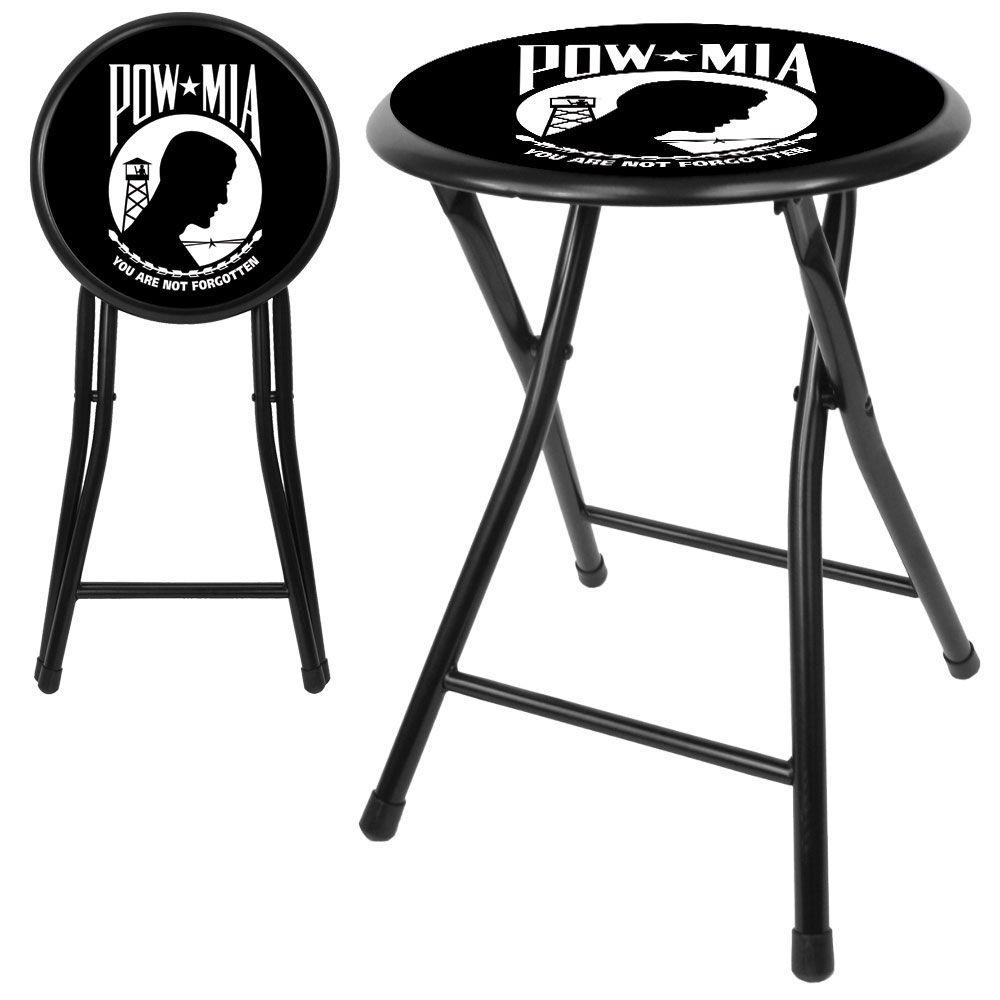 Trademark POW 24Inch Cushioned Folding Stool - Black