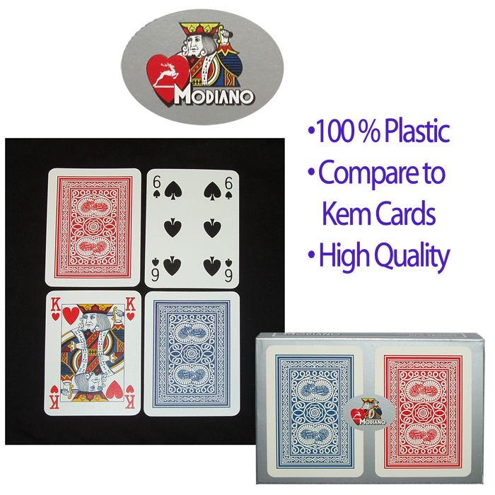 Modiano 100% Plastic Poker Size Reg Index Old