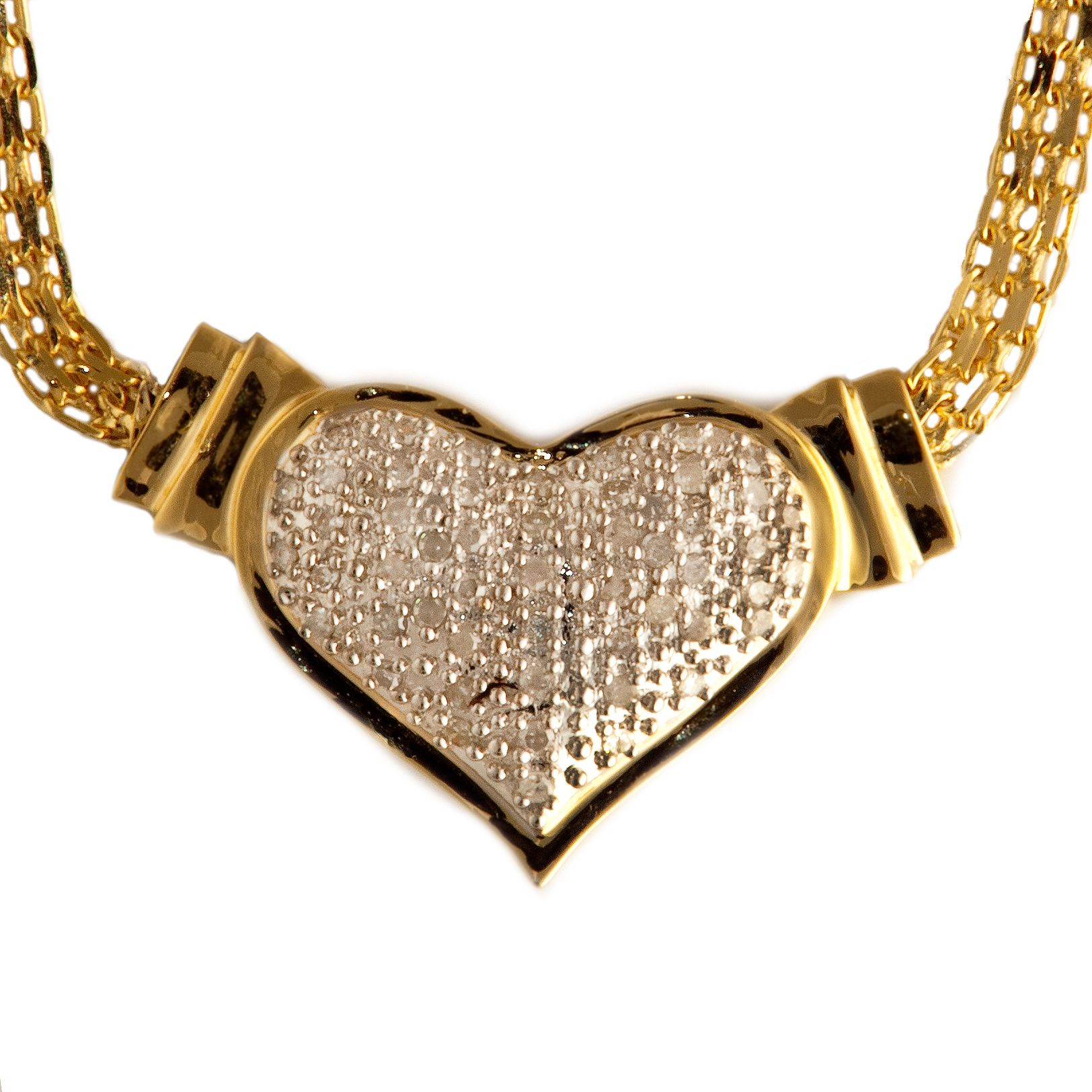 Heart Shaped Diamond Accent Gold over Silver