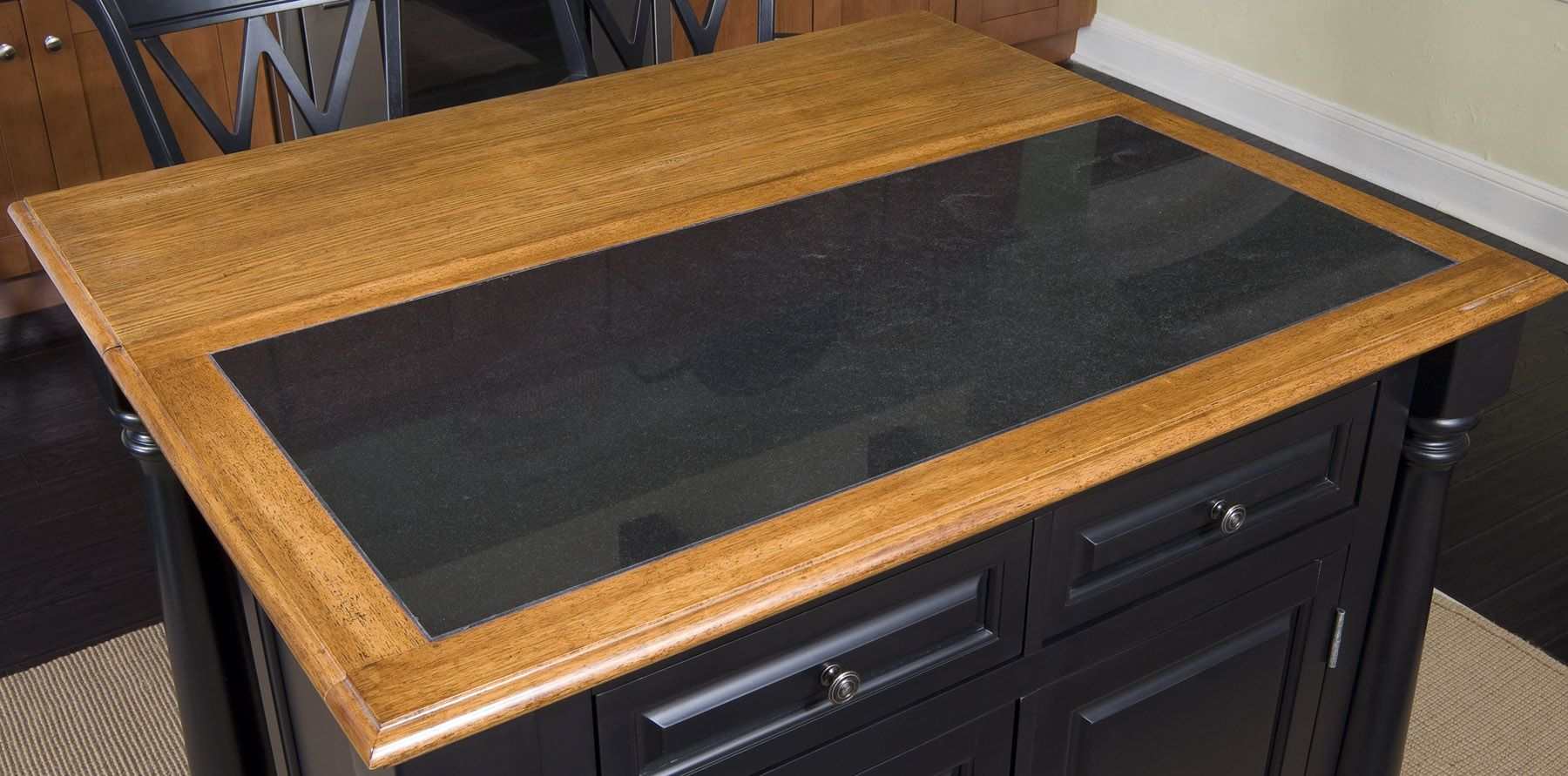 Monarch Granite Top Kitchen Island & Two Stools                                                                                  at mygofer.com