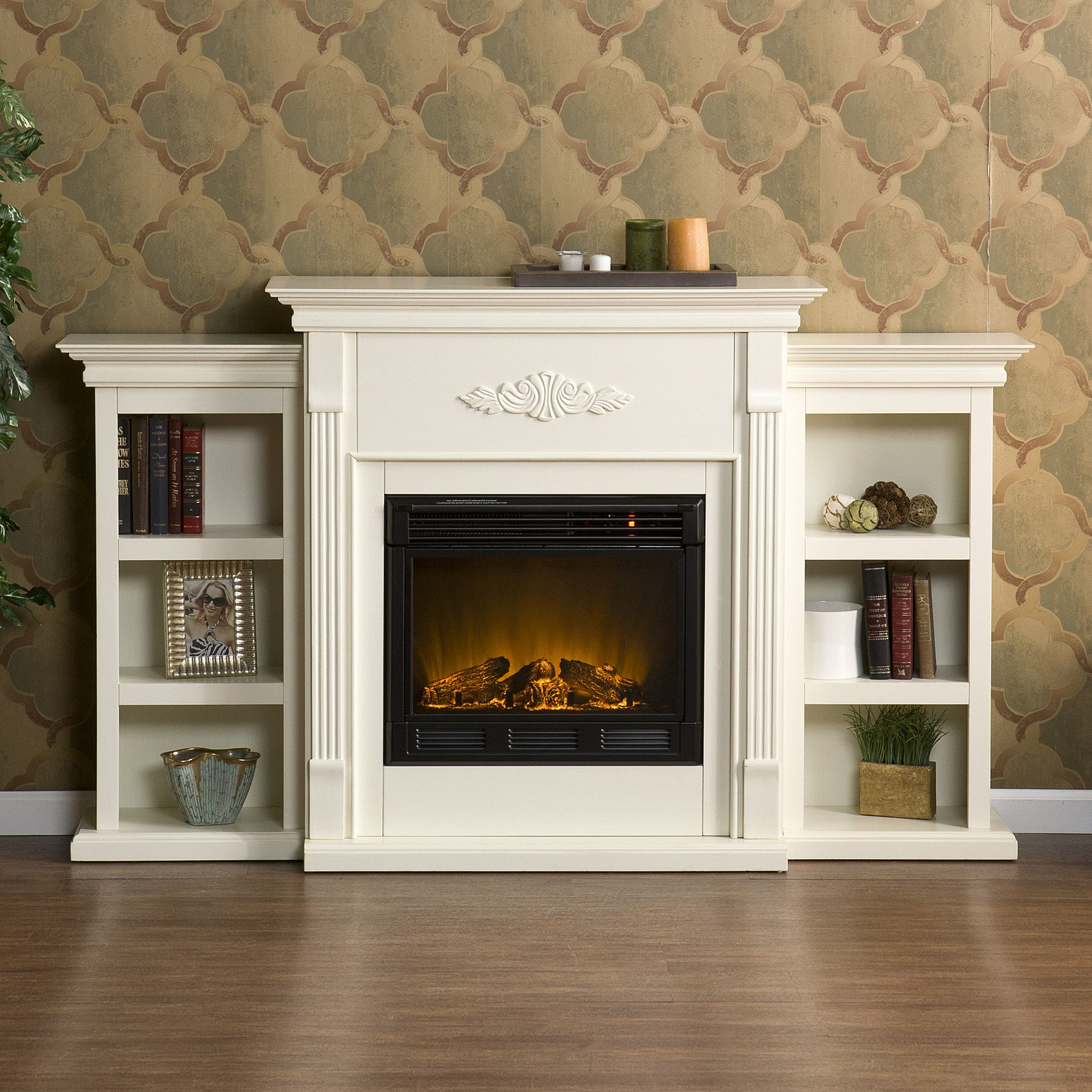 Tennyson Ivory Electric Fireplace w/ Bookcases                                                                                   at mygofer.com