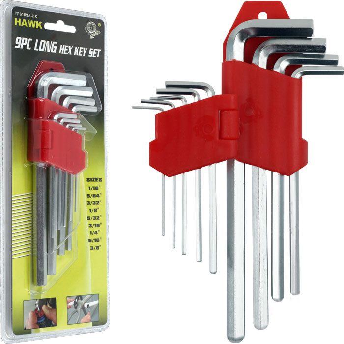 Stalwart 9 piece Long Hex Allen Wrench Set