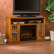 Southern Enterprises Narita Glazed Pine Media Console w/ Electric Fireplace at Kmart.com