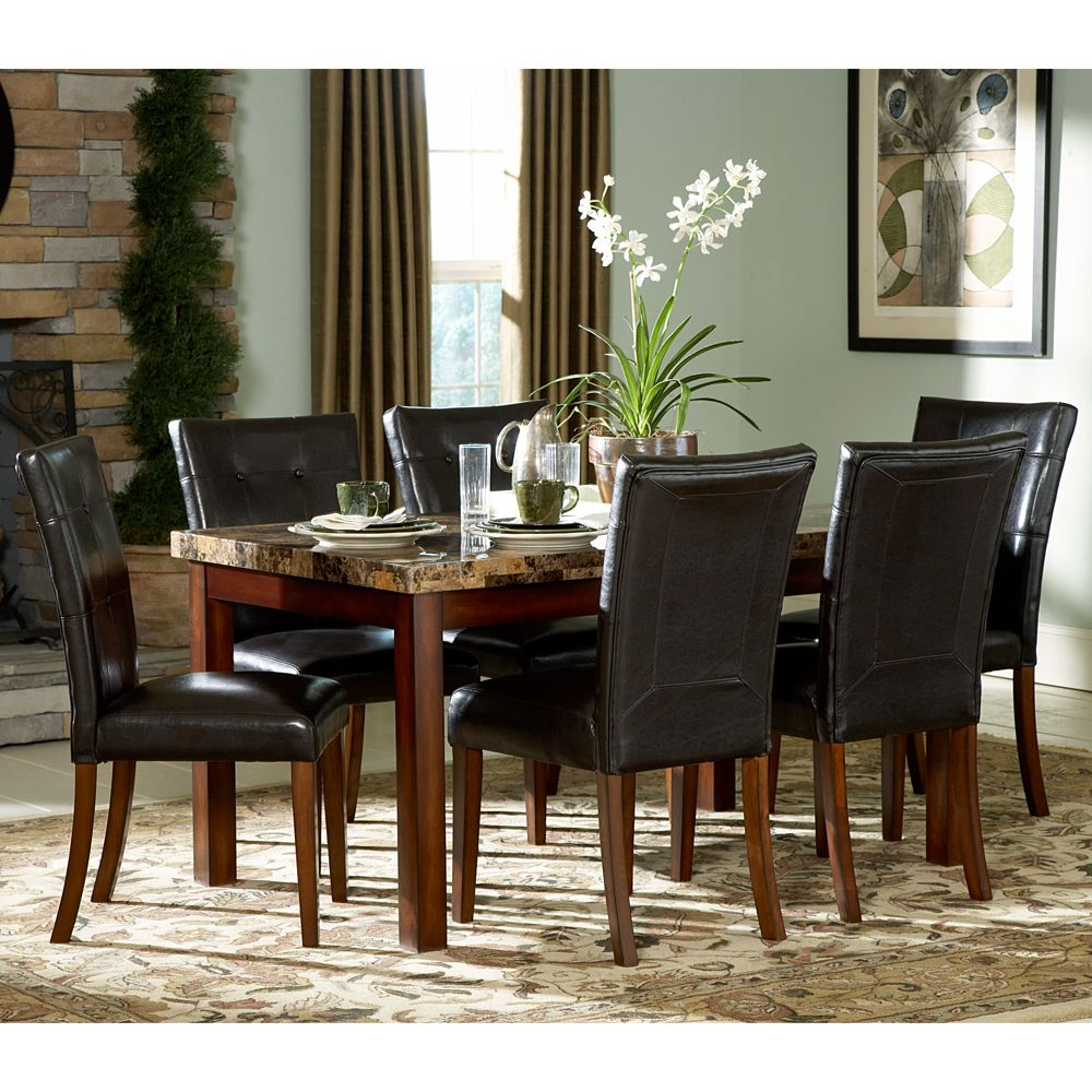7-piece Faux Marble Top Dining Set
