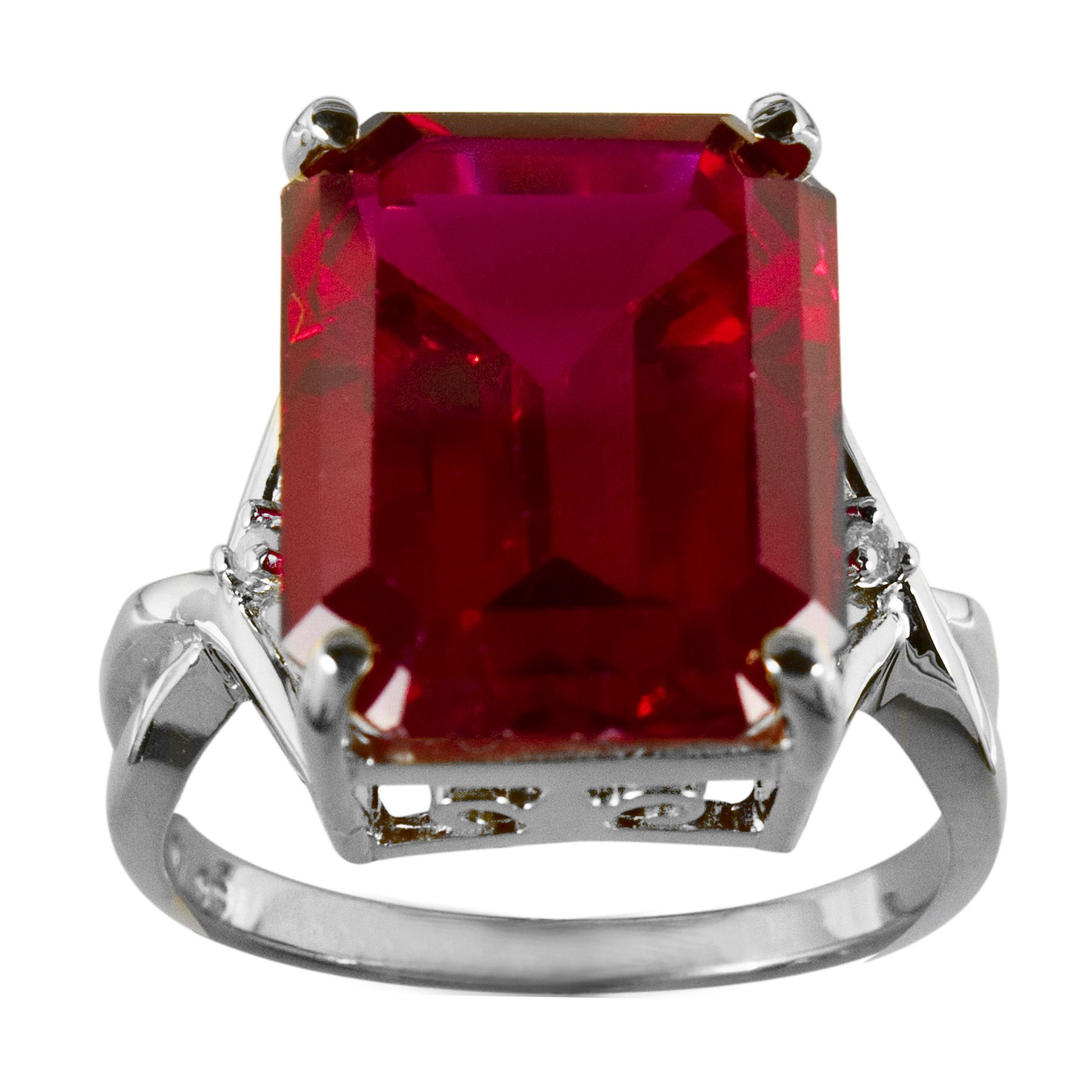 Lab Created Ruby and Diamond Ring