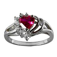 Lab Created Ruby and White Sapphire Heart Ring at Kmart.com