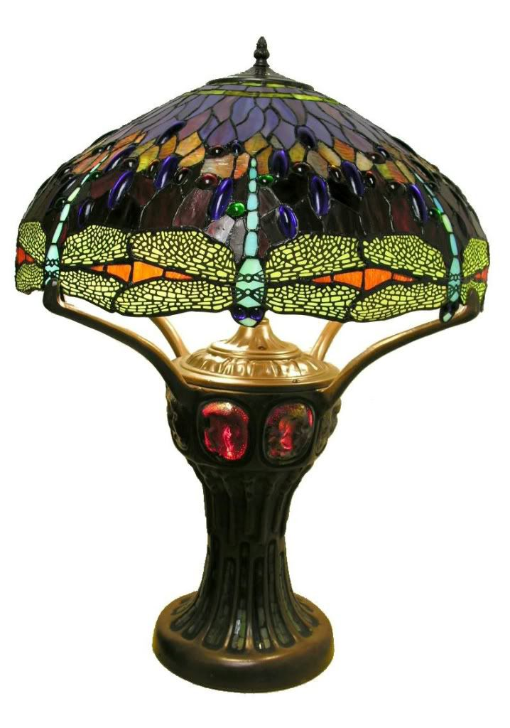Warehouse of Tiffany Tiffany Style Purple Red Dragonfly Table Lamp with lighted turtleback base