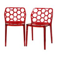 Baxton Honeycomb Red Acrylic Modern Dining Chair (Set of 2) at Kmart.com