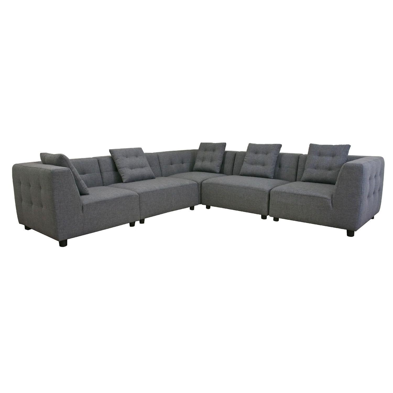 Baxton Studio Alcoa Gray Fabric Modular Modern Sectional Sofa