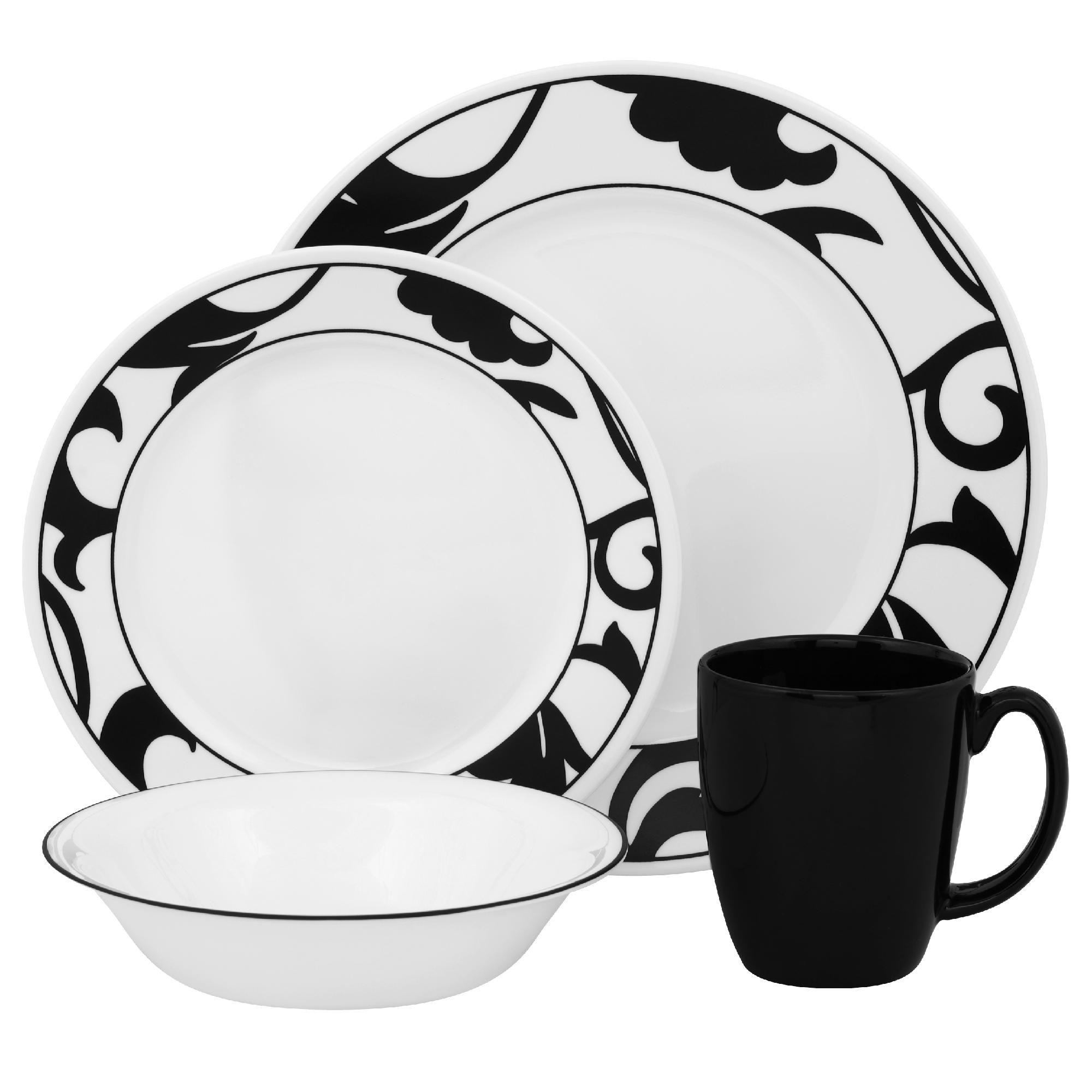Corelle Vive Noir 16pc Dinnerware Set - Home - Dining u0026 Entertaining - Tableware - Dinnerware Sets u0026 Collections  sc 1 st  Sears & Corelle Vive Noir 16pc Dinnerware Set - Home - Dining u0026 Entertaining ...