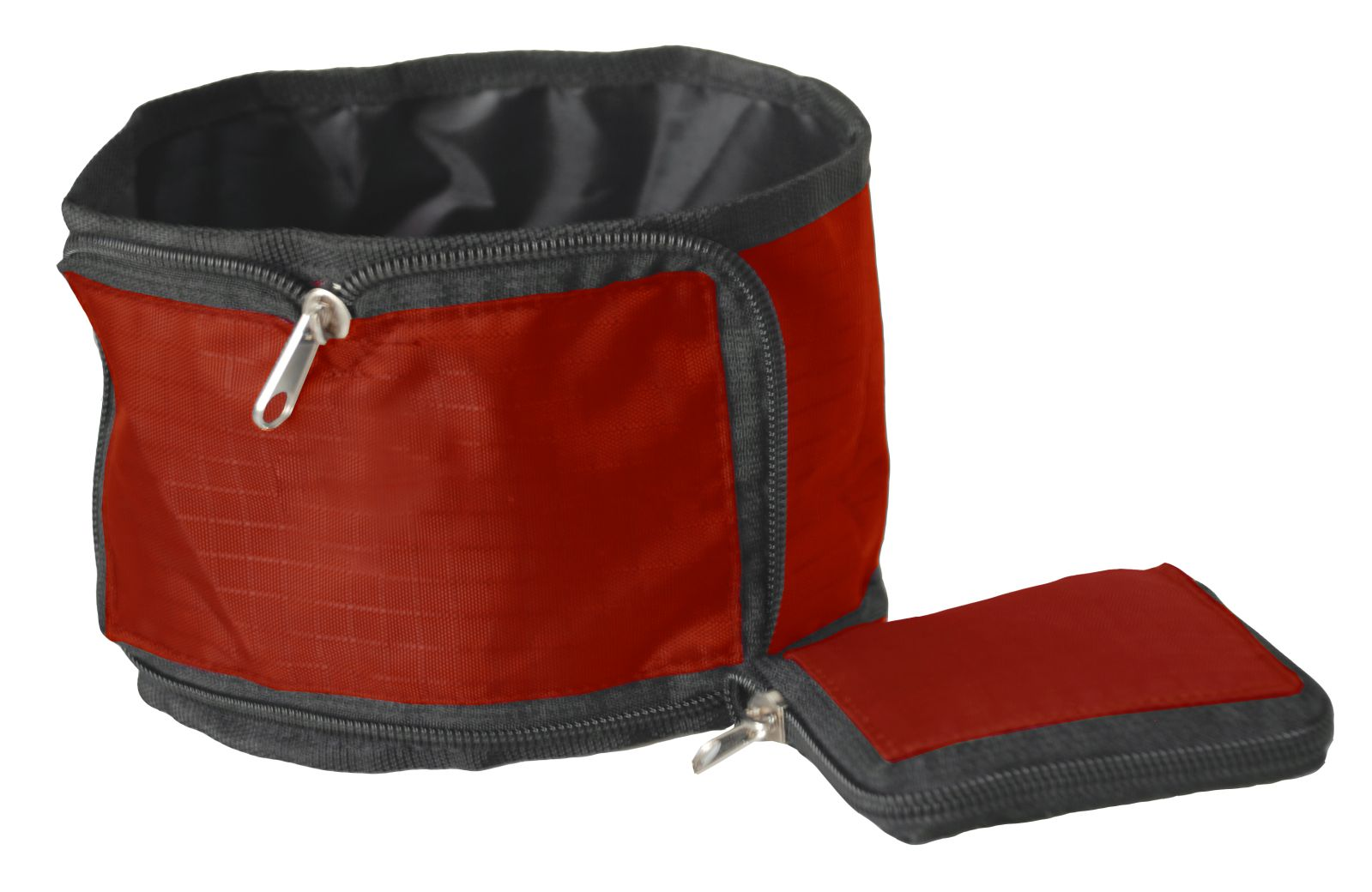 Pet Life SINGLE FOLDING WALLET ZIPPERED TRAVEL PET BOWL