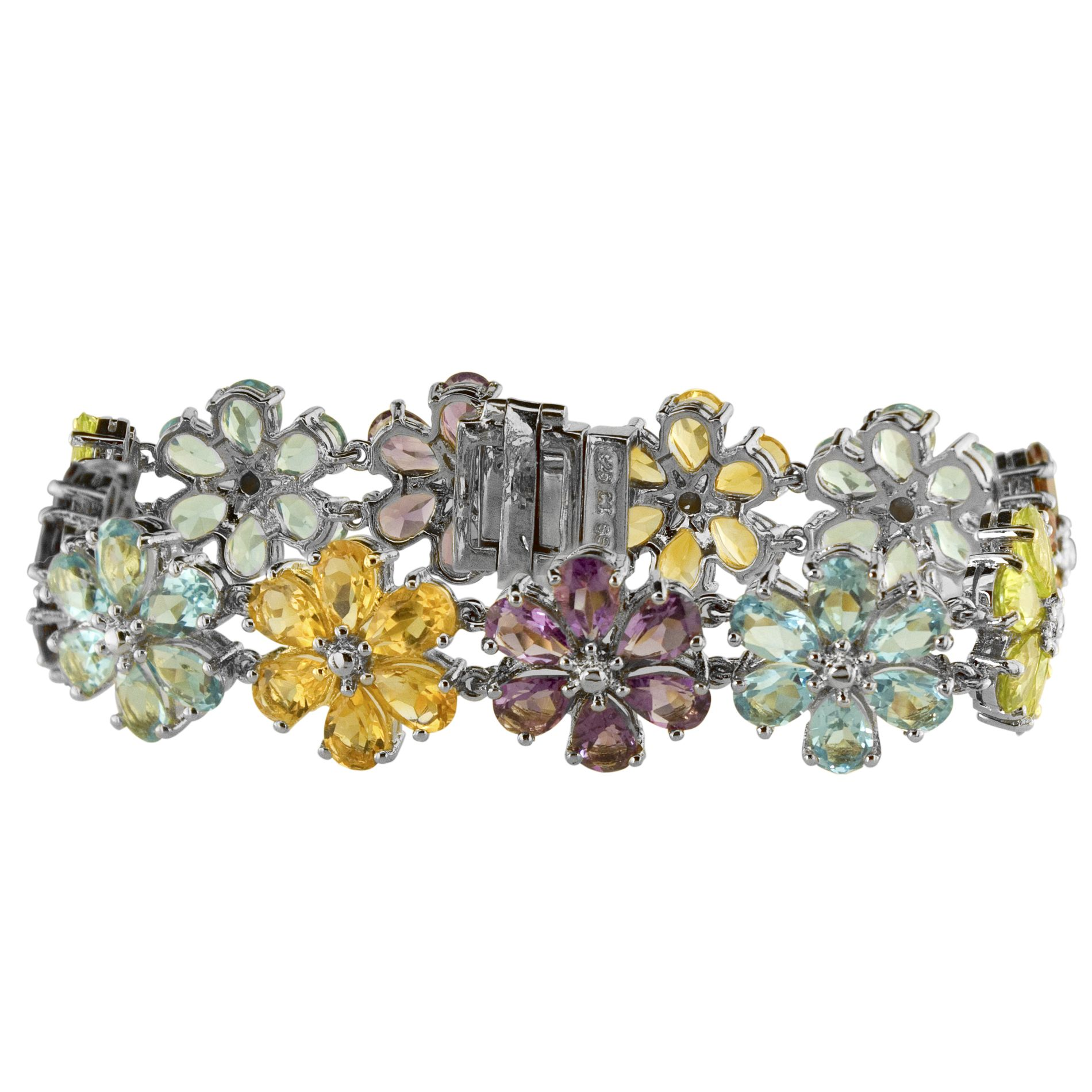 Multi Gemstone Flower Bracelet                                                                                                   at mygofer.com